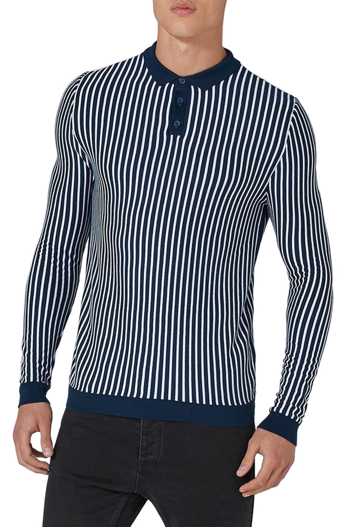 Stripe Knit Polo Sweater,                         Main,                         color, Navy Blue Multi