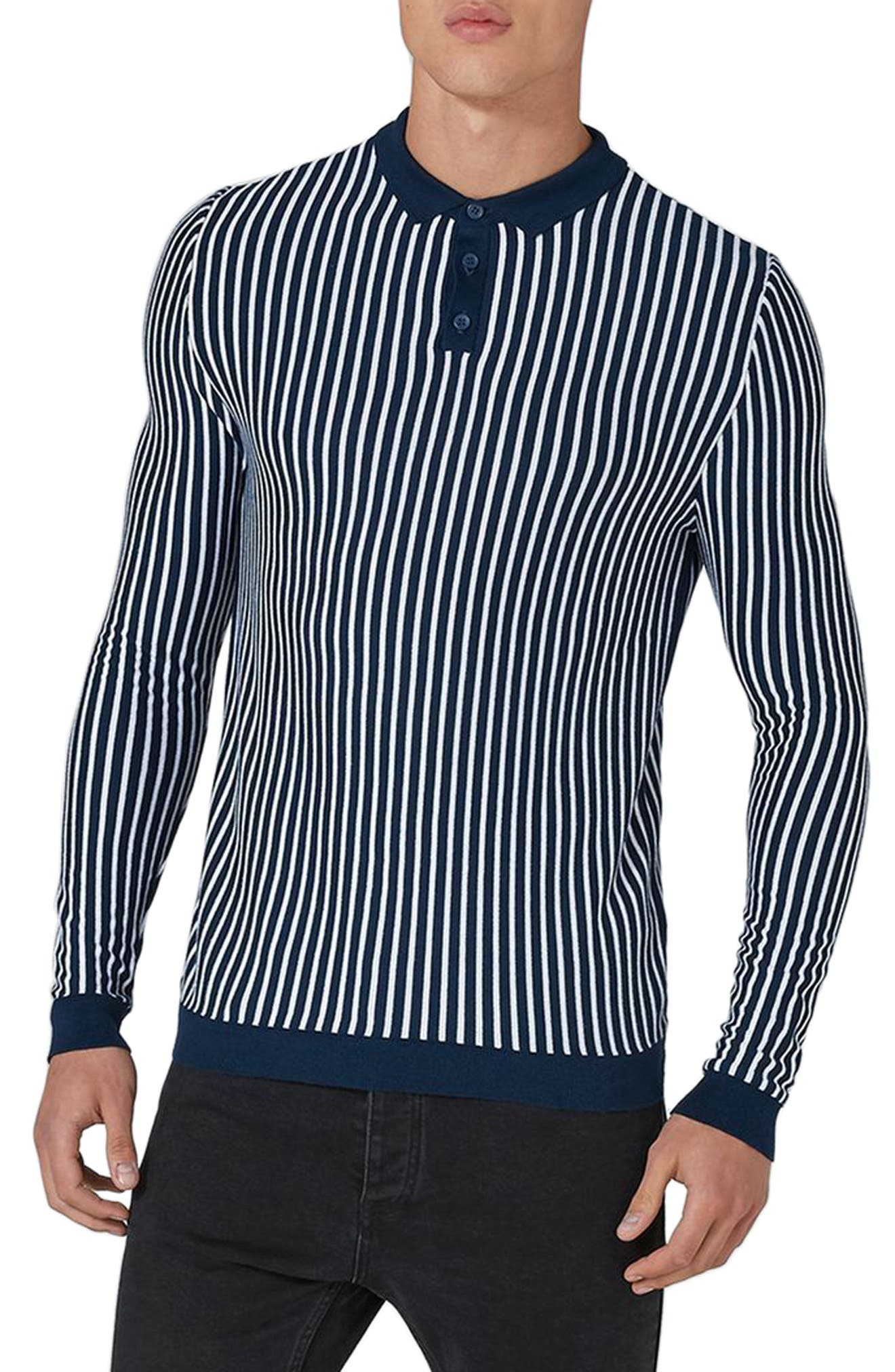 Topman Stripe Knit Polo Sweater