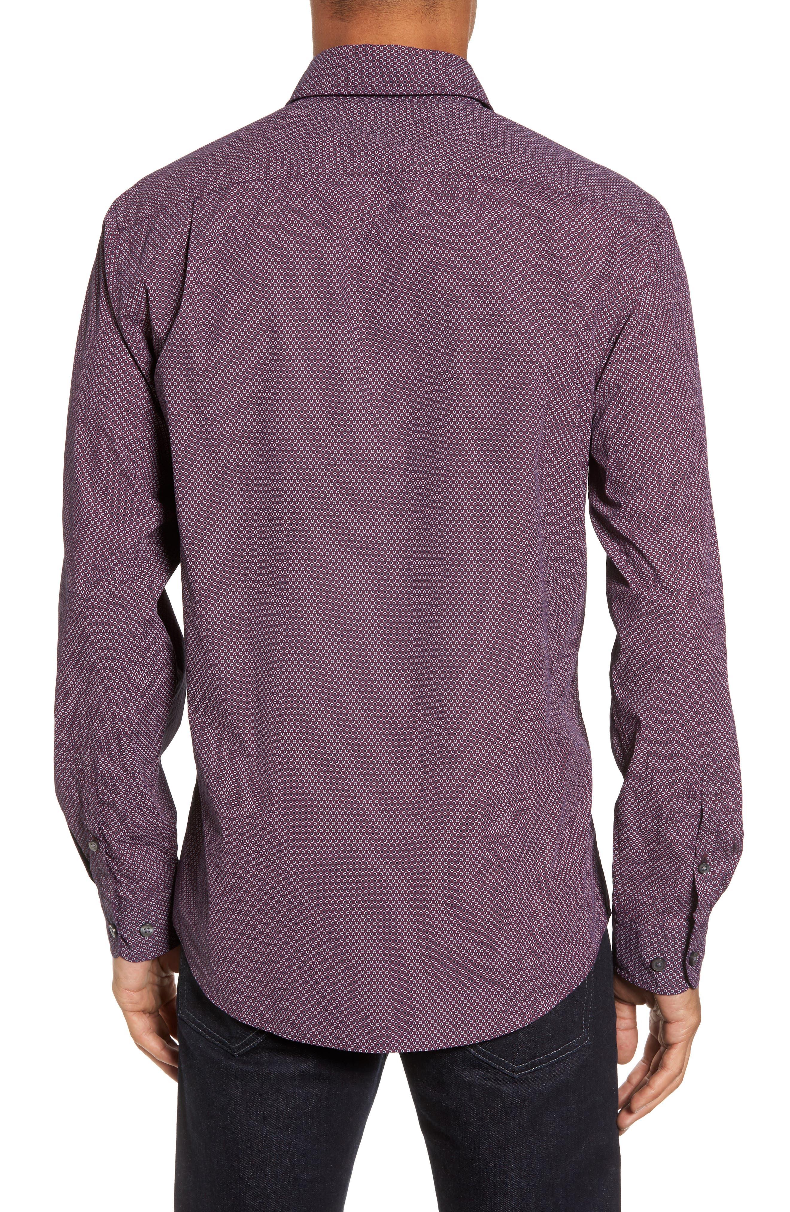 Ingleton Regular Fit Dot Sport Shirt,                             Alternate thumbnail 2, color,                             Merlot