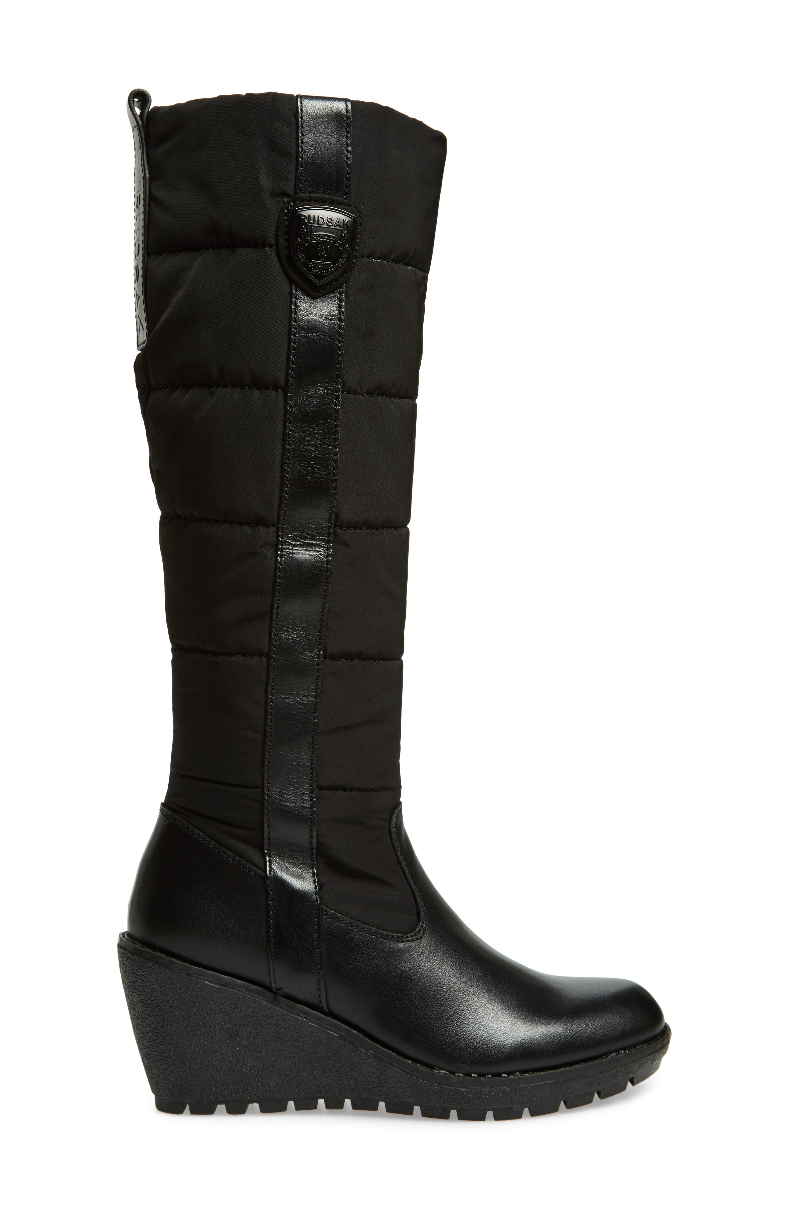 Bethany Water Resistant Boot,                             Alternate thumbnail 3, color,                             Black Leather