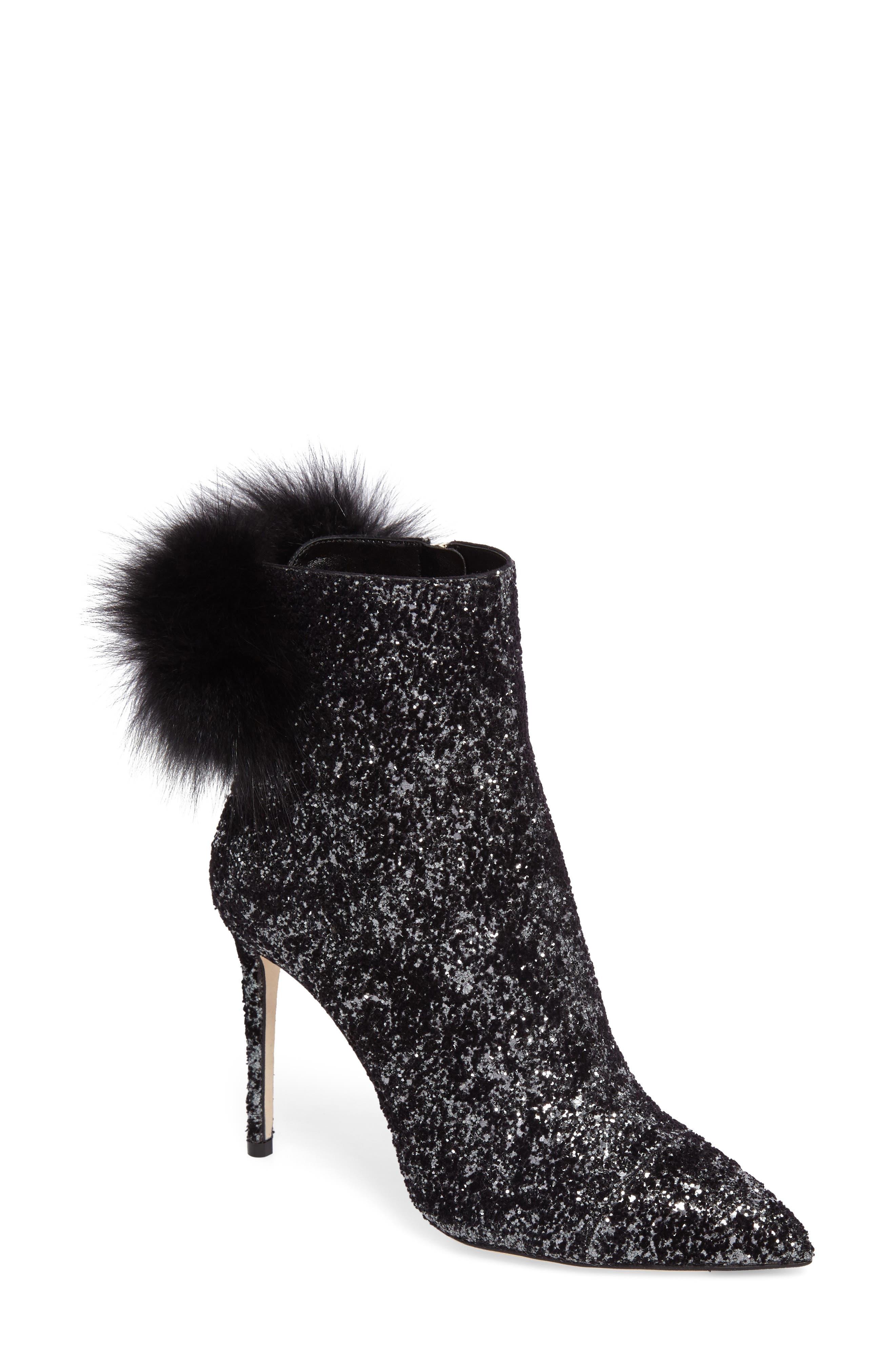 Tesler Genuine Fox Fur Bootie,                             Main thumbnail 1, color,                             Anthracite/ Black/ Black