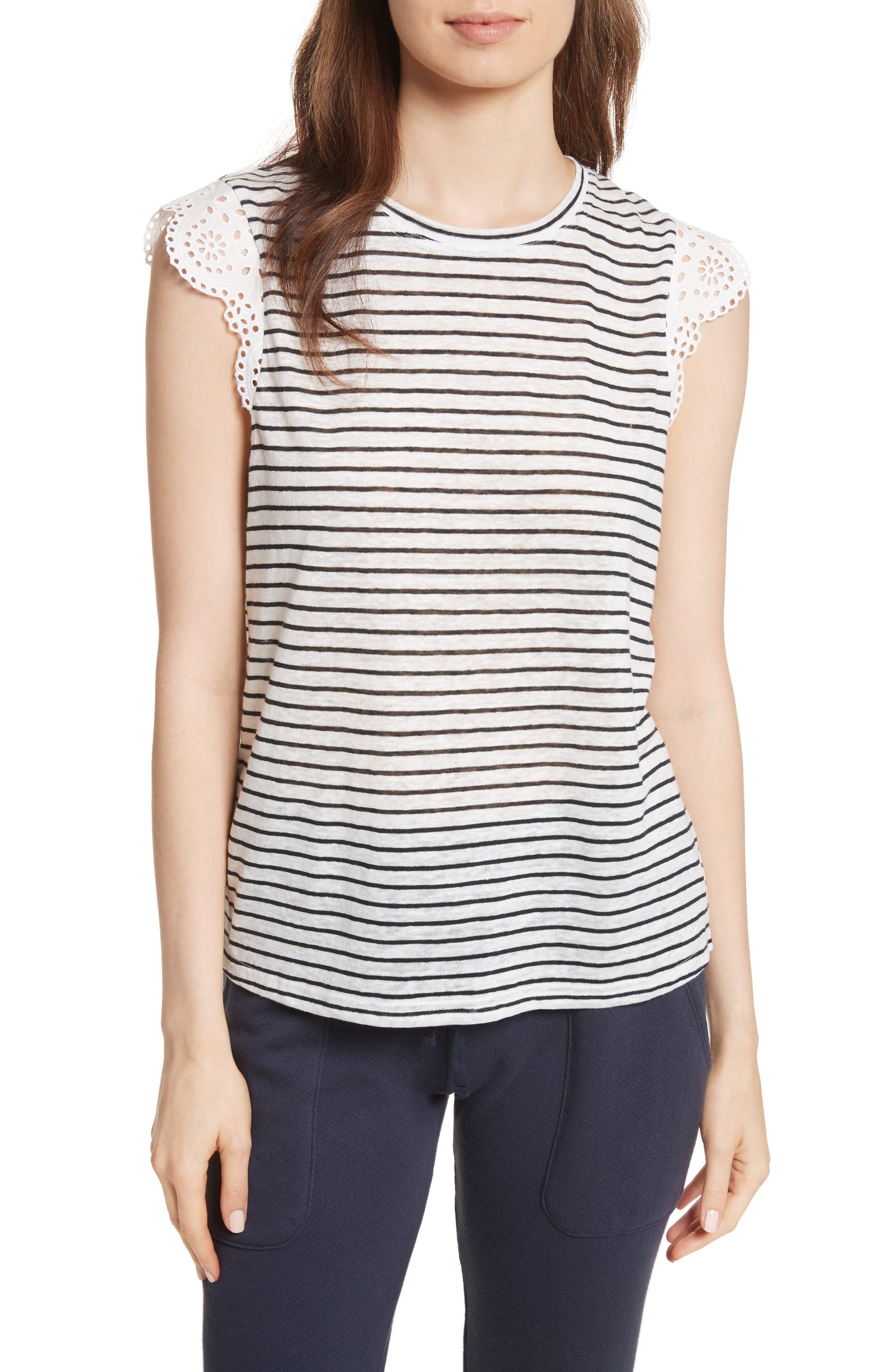 Acenath Eyelet Sleeve Stripe Linen Tee,                         Main,                         color, Porcelain/ Dark Navy