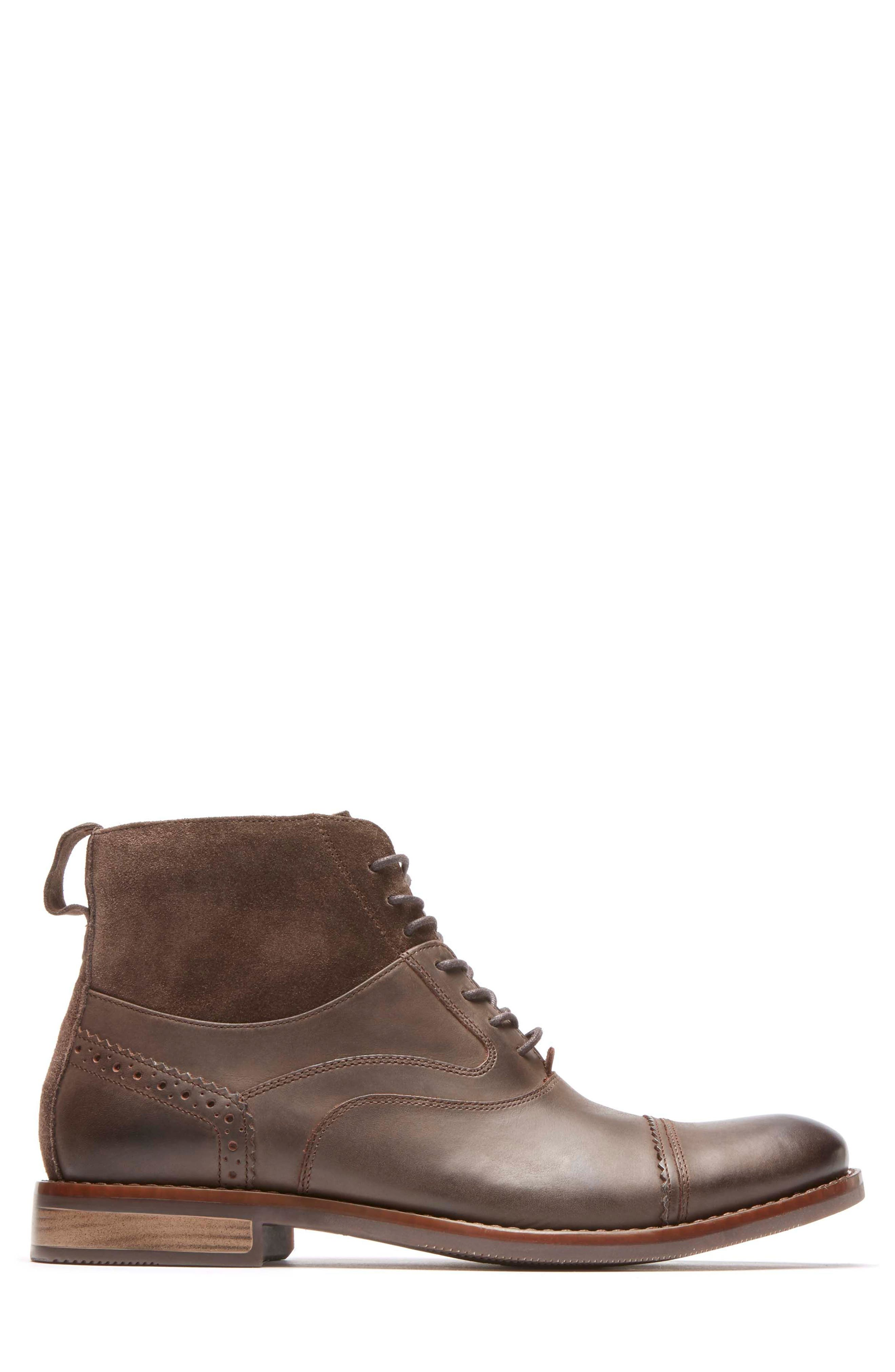Wynstin Cap Toe Boot,                             Alternate thumbnail 3, color,                             Dark Chocolate Leather