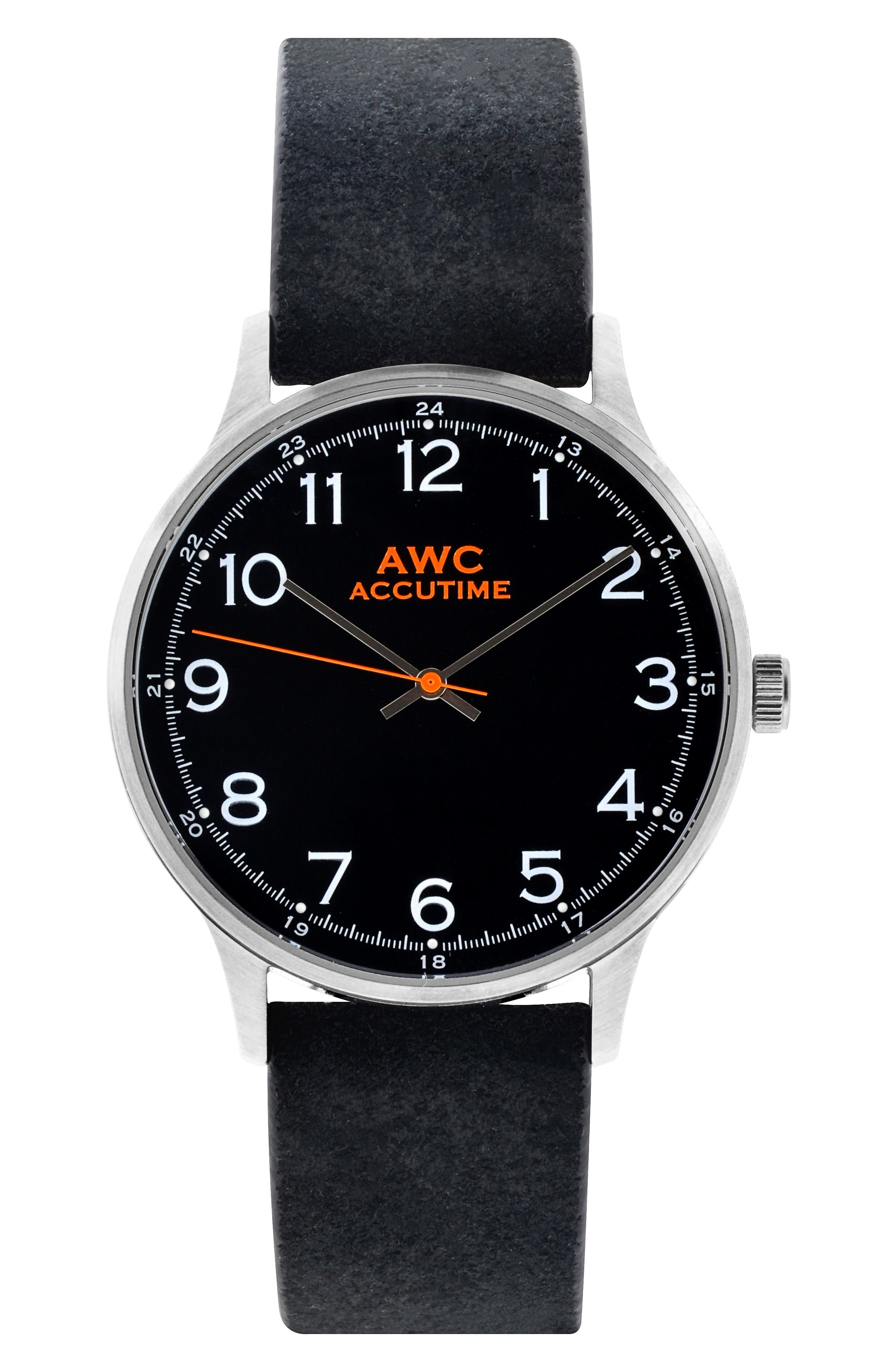 Main Image - Accutime Numerial Suede Strap Watch, 40mm