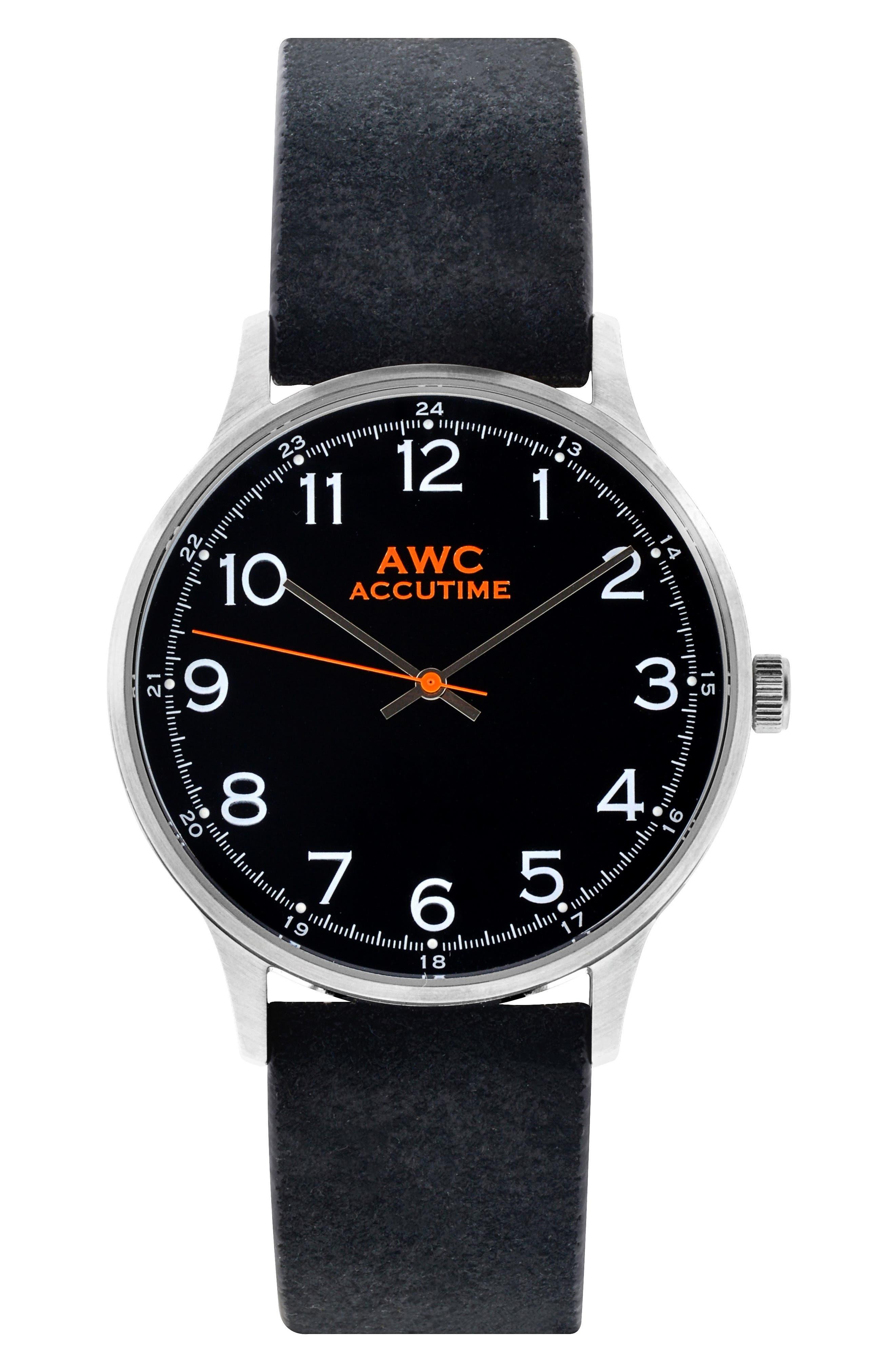 Numerial Suede Strap Watch, 40mm,                         Main,                         color, Black/ Black Suede