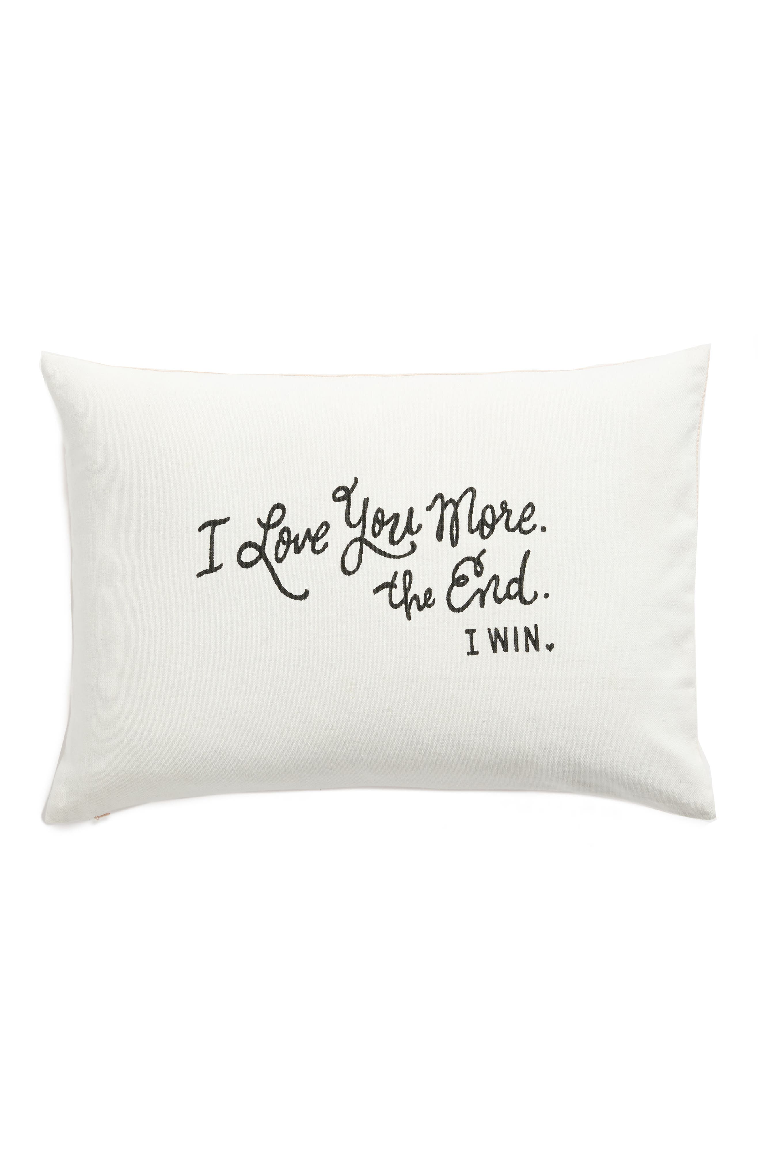 I Love You More Accent Pillow,                             Main thumbnail 1, color,                             Ivory