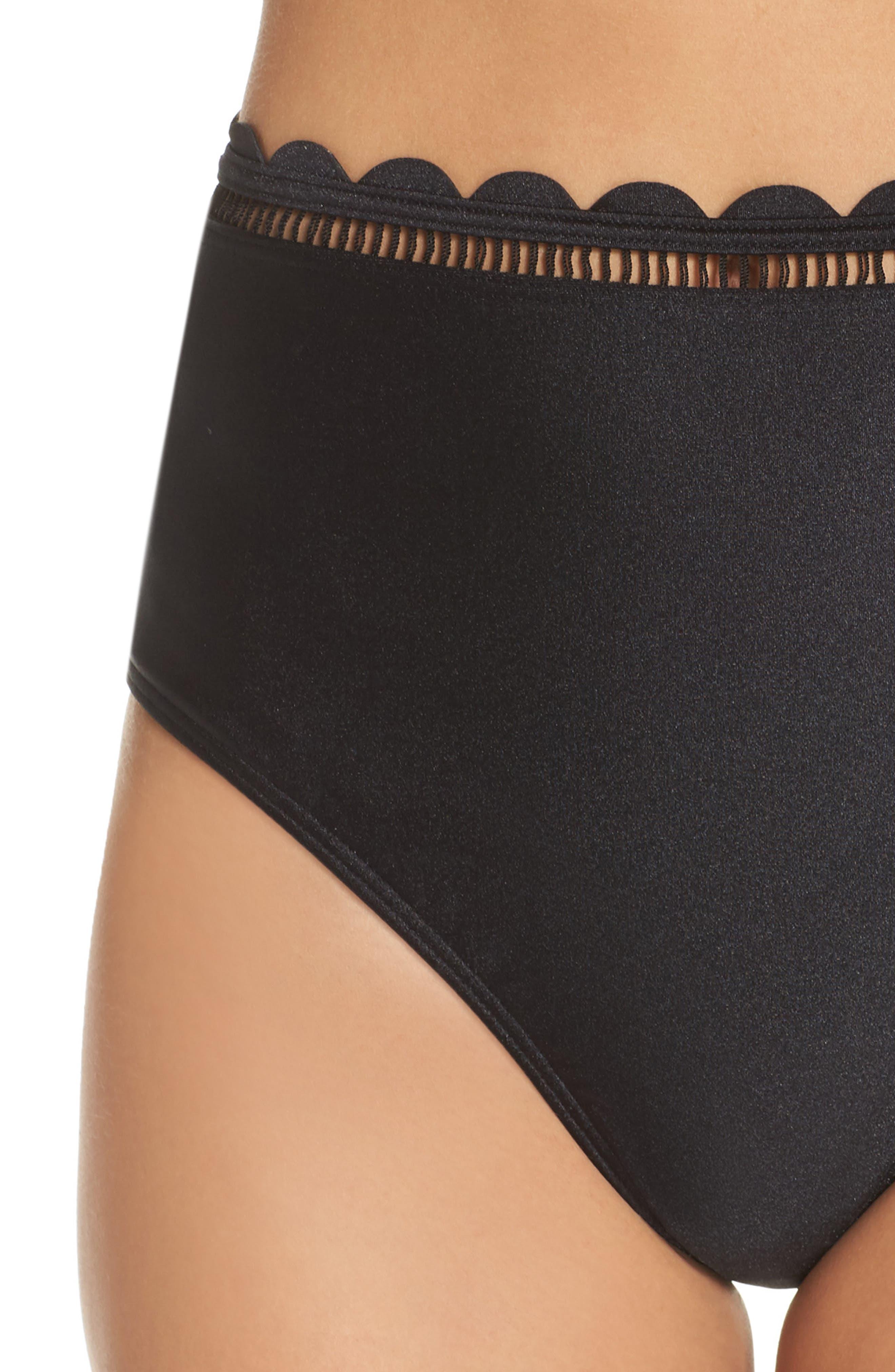 Scallop High Waist Bikini Bottoms,                             Alternate thumbnail 4, color,                             Black