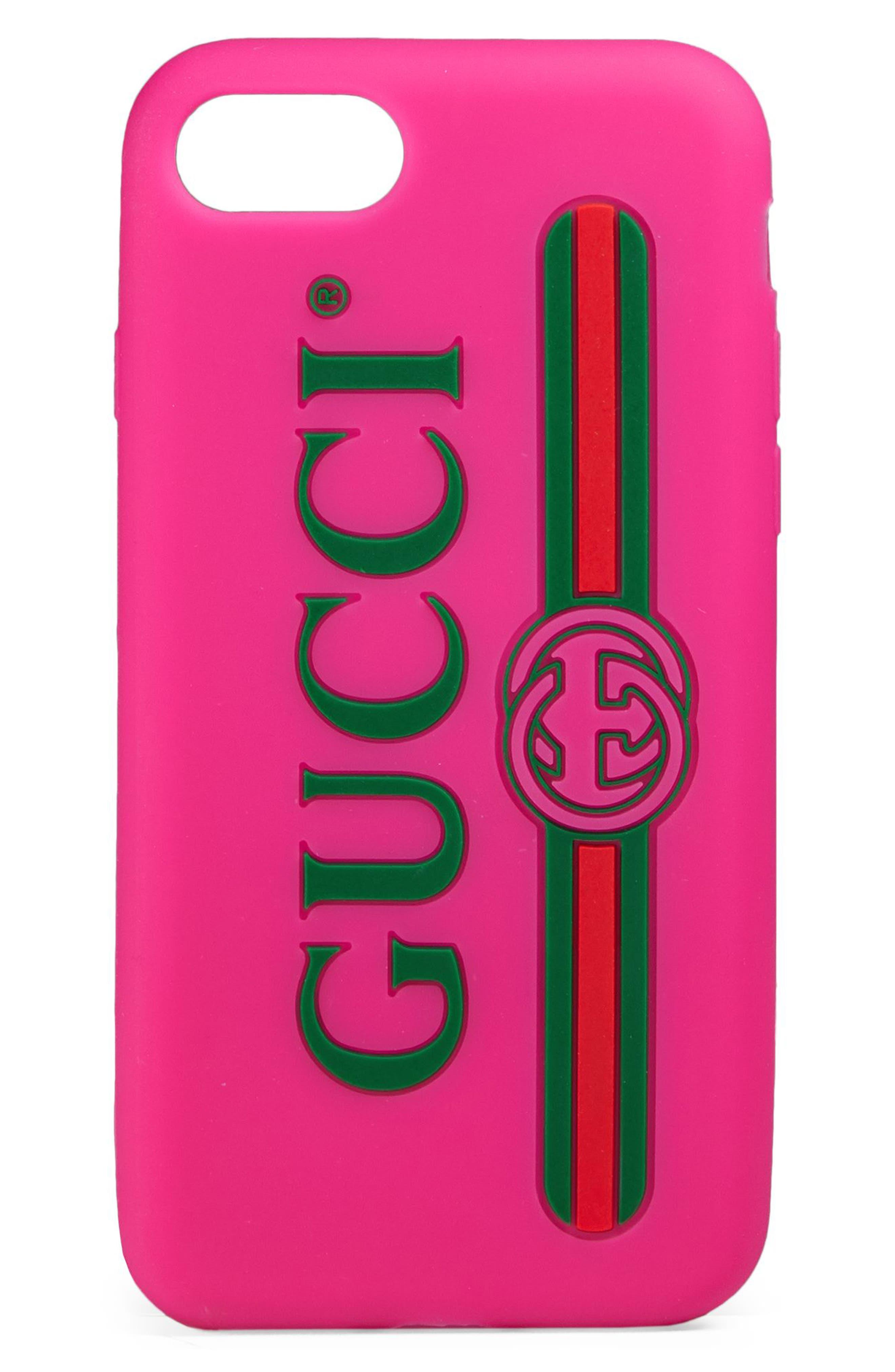 Logo iPhone 7/8 Case,                         Main,                         color, Box Pink/ Vert Red Vert