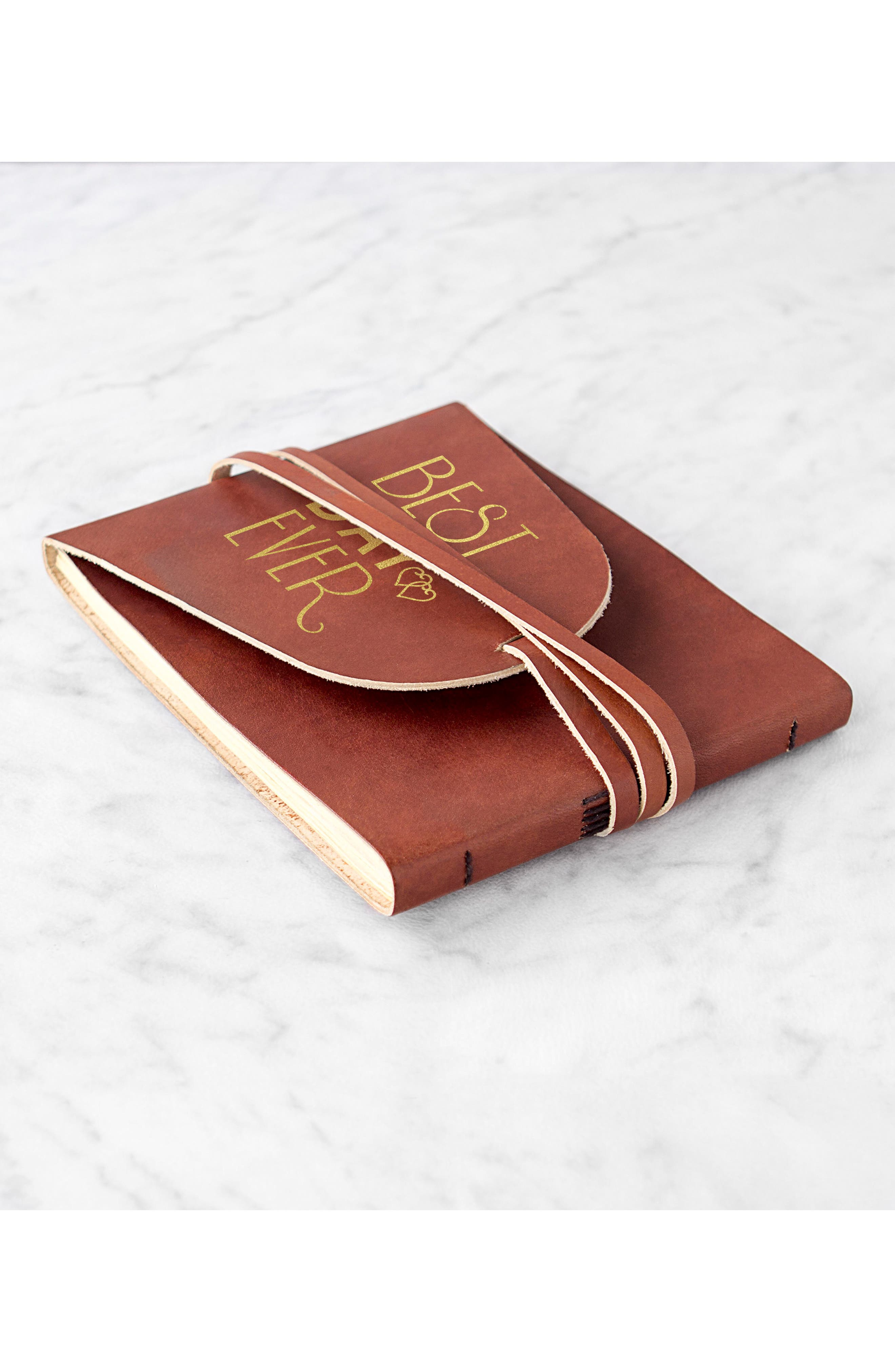 Best Day Ever Leather Guest Book,                             Alternate thumbnail 6, color,                             Gold
