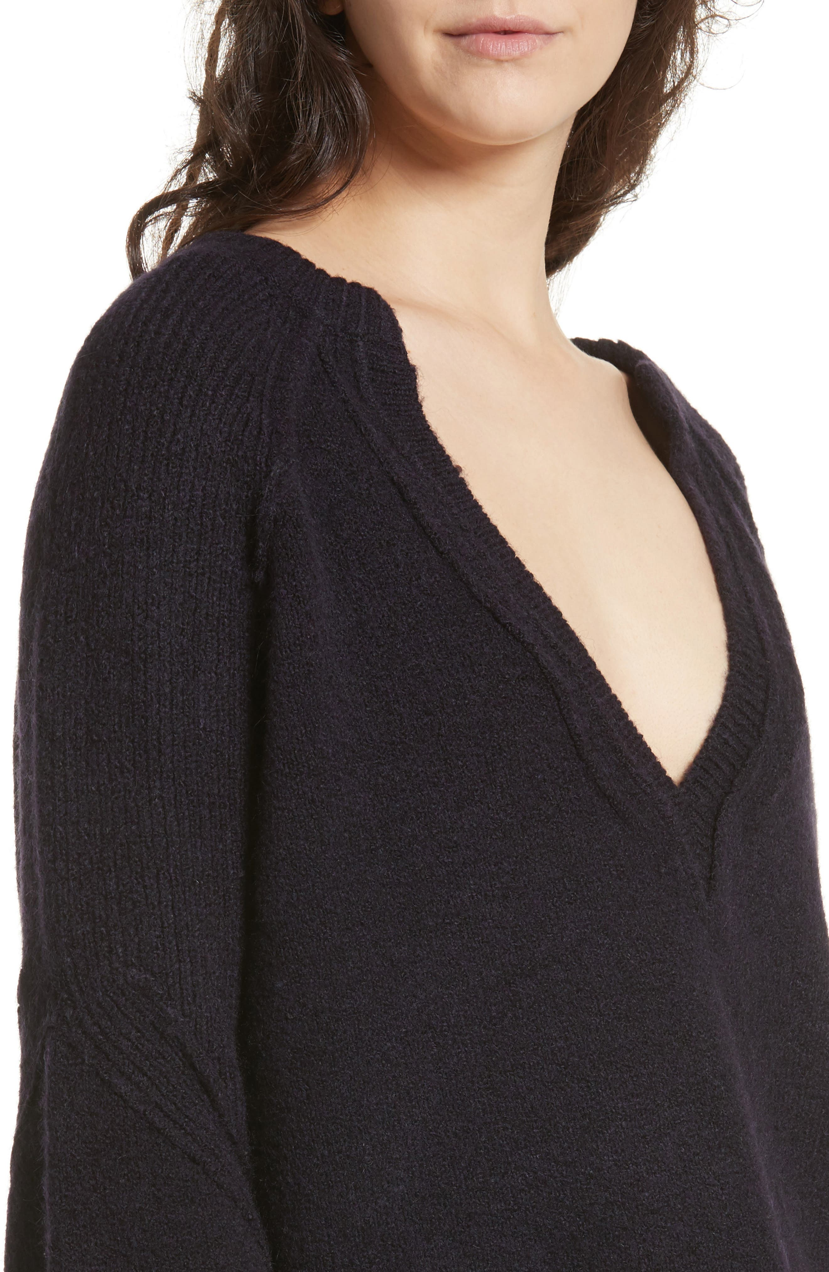 Lovely Lines Bell Sleeve Sweater,                             Alternate thumbnail 4, color,                             Purple