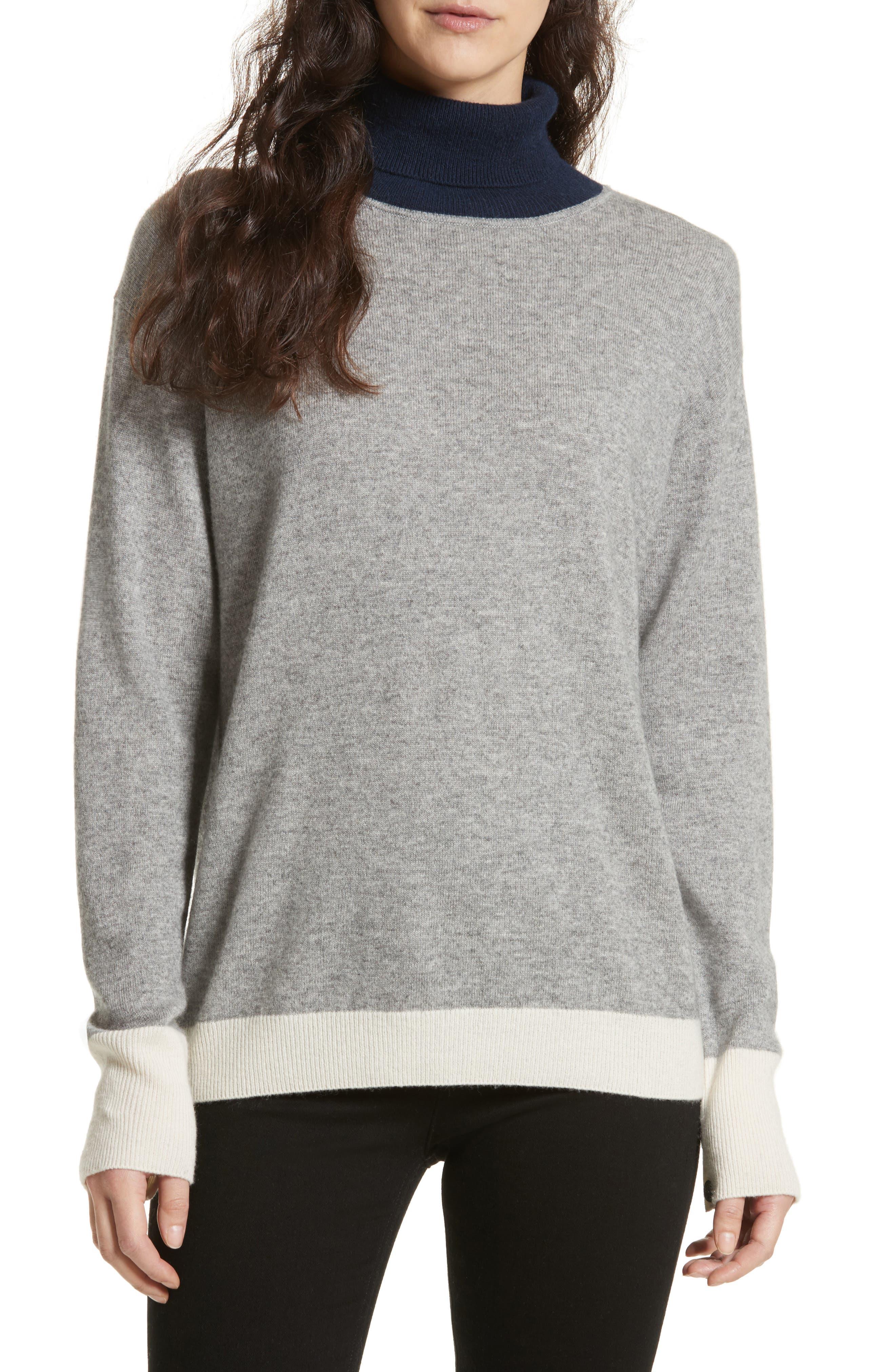 Rhea Wool & Cashmere Turtleneck Sweater,                             Main thumbnail 1, color,                             Grey Heather