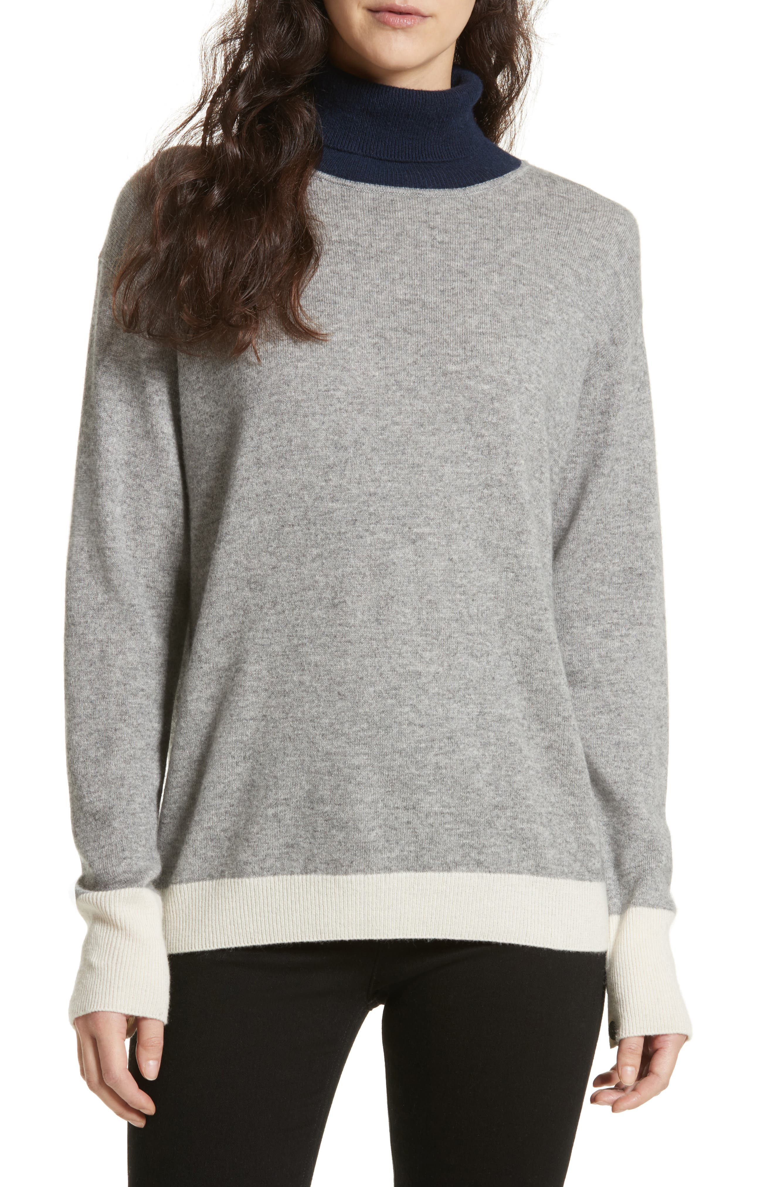 Rhea Wool & Cashmere Turtleneck Sweater,                         Main,                         color, Grey Heather
