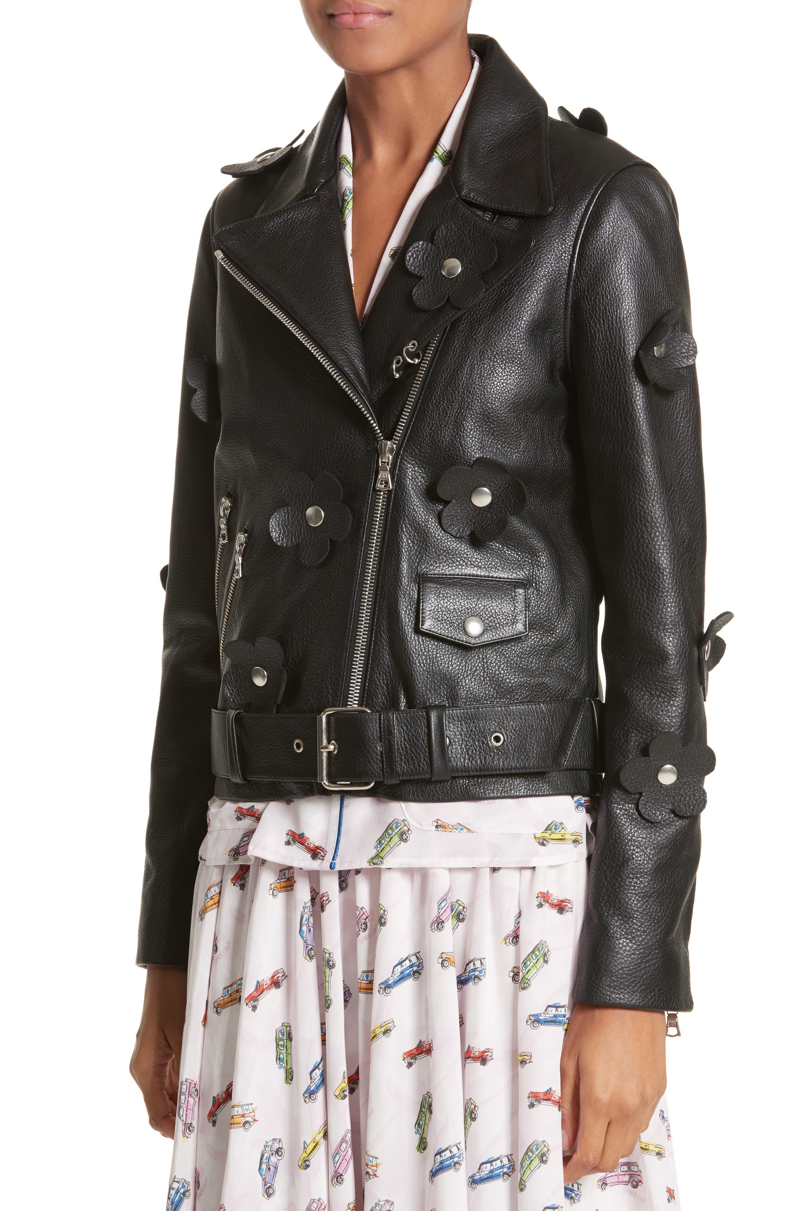 Alternate Image 4  - Sandy Liang Petals Delancey Leather Moto Jacket