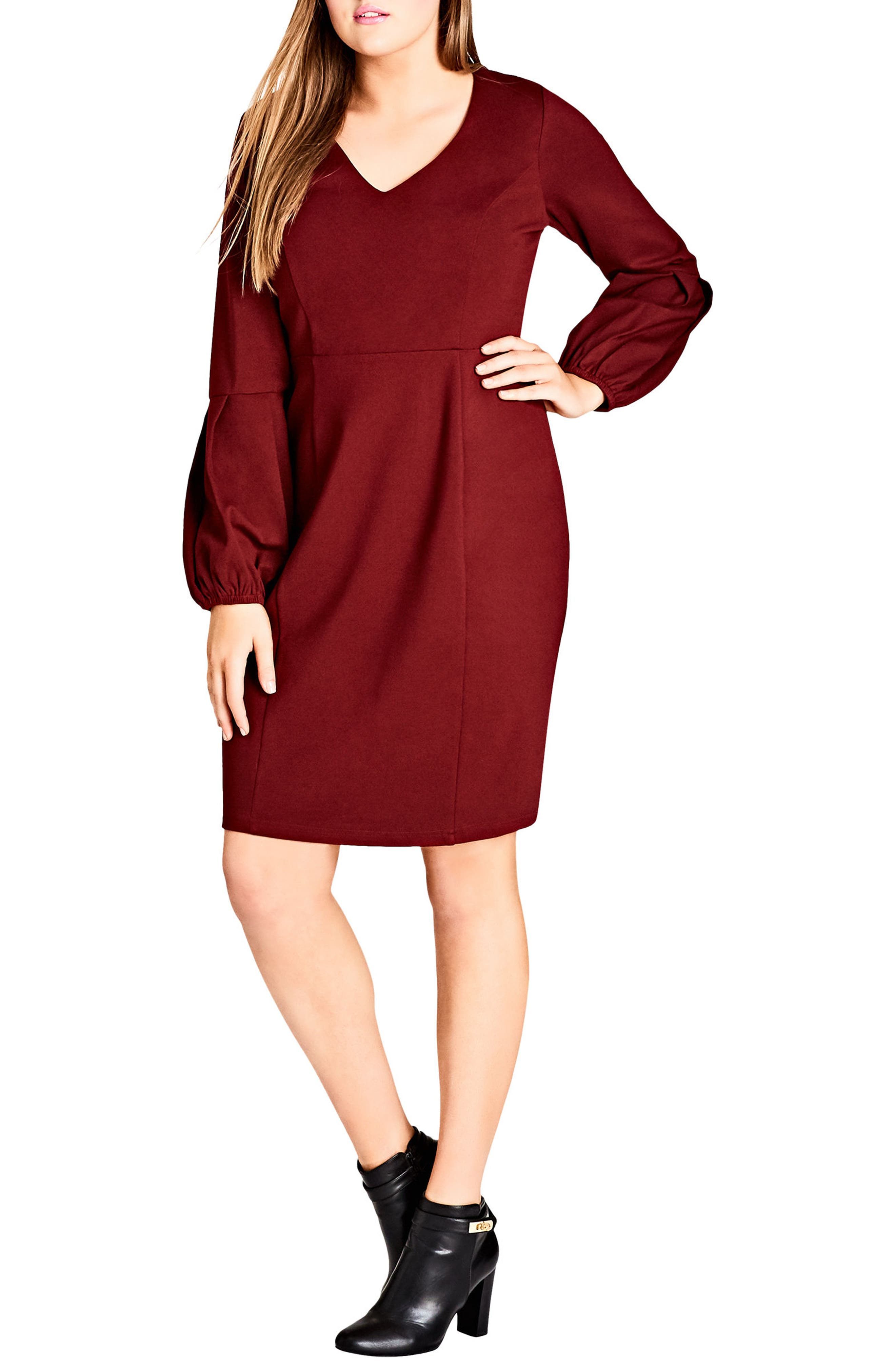 Fancy Sleeve Sheath Dress,                             Main thumbnail 1, color,                             Ruby