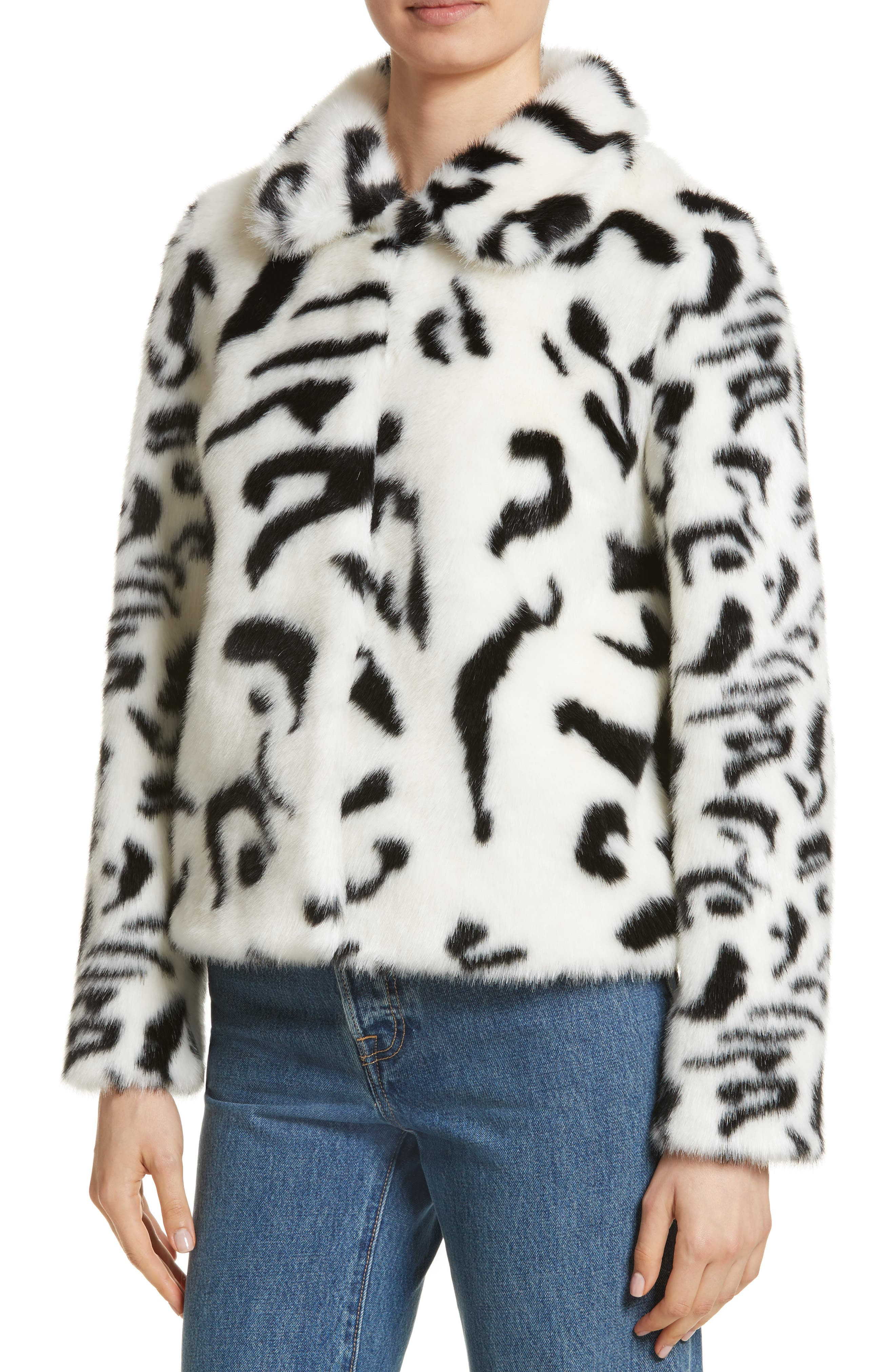 Junior Faux Fur Jacket,                             Alternate thumbnail 3, color,                             White/ Black