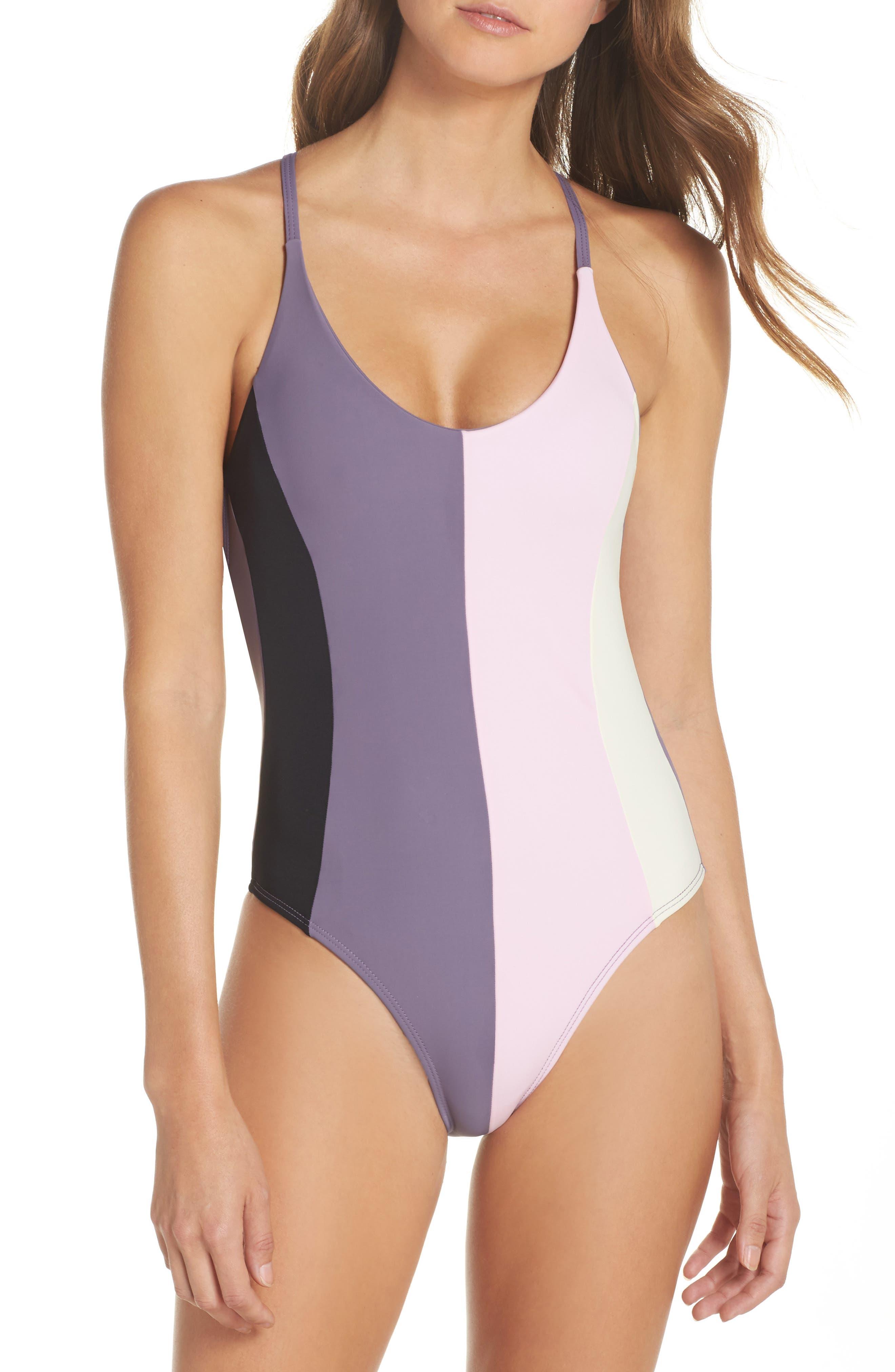 Farrah Colorblock One-Piece Swimsuit,                         Main,                         color, Amethyst