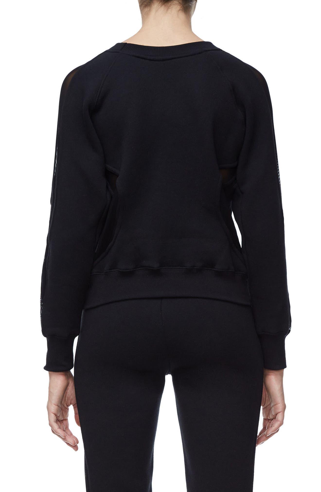 Good Sweats Mesh Inset Sweatshirt,                             Alternate thumbnail 3, color,                             Good Black
