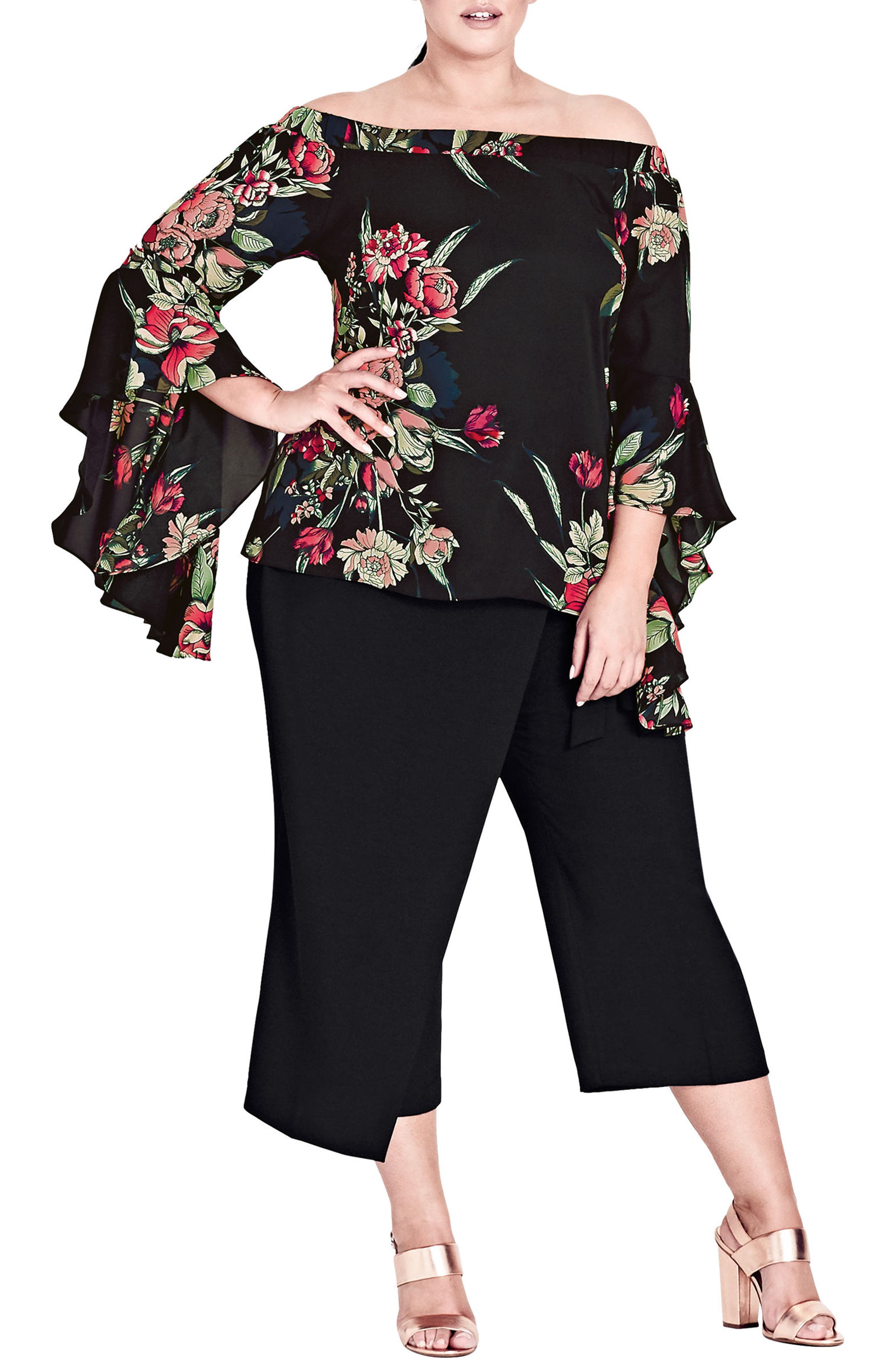 City Chic Misty Floral Off the Shoulder Top (Plus Size)