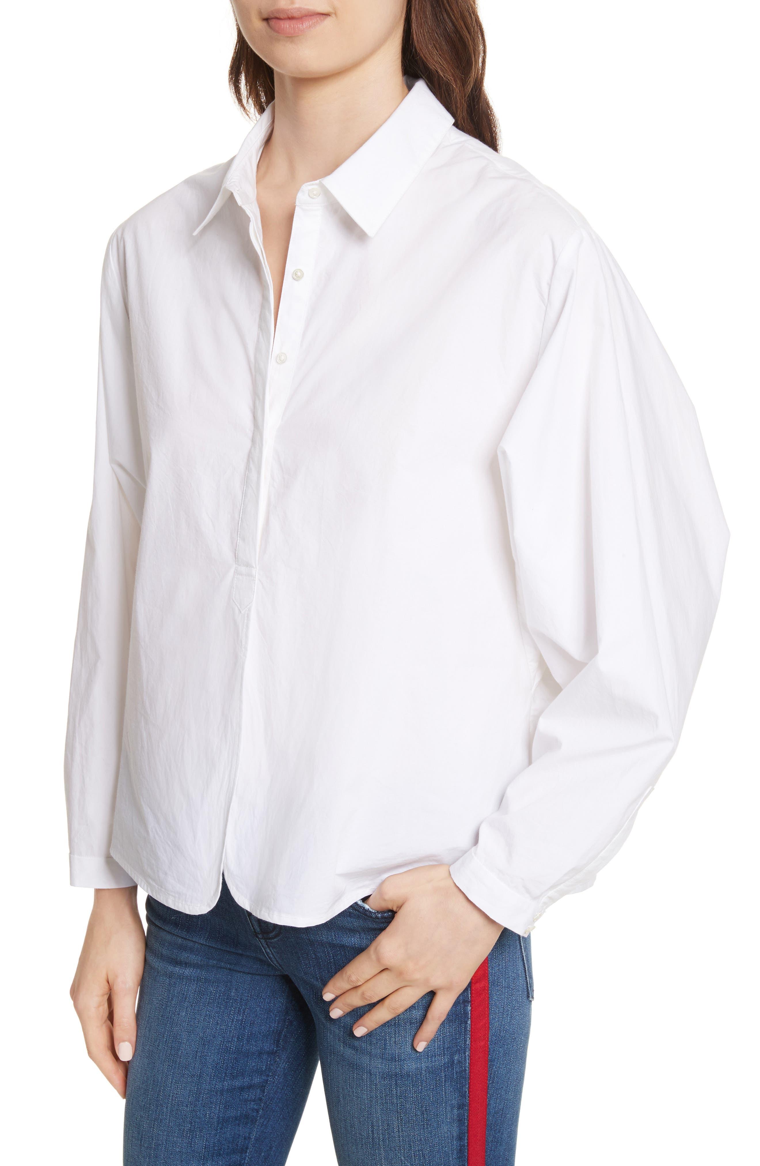 Anjanique B Button Down Cotton Shirt,                             Alternate thumbnail 4, color,                             Clean White