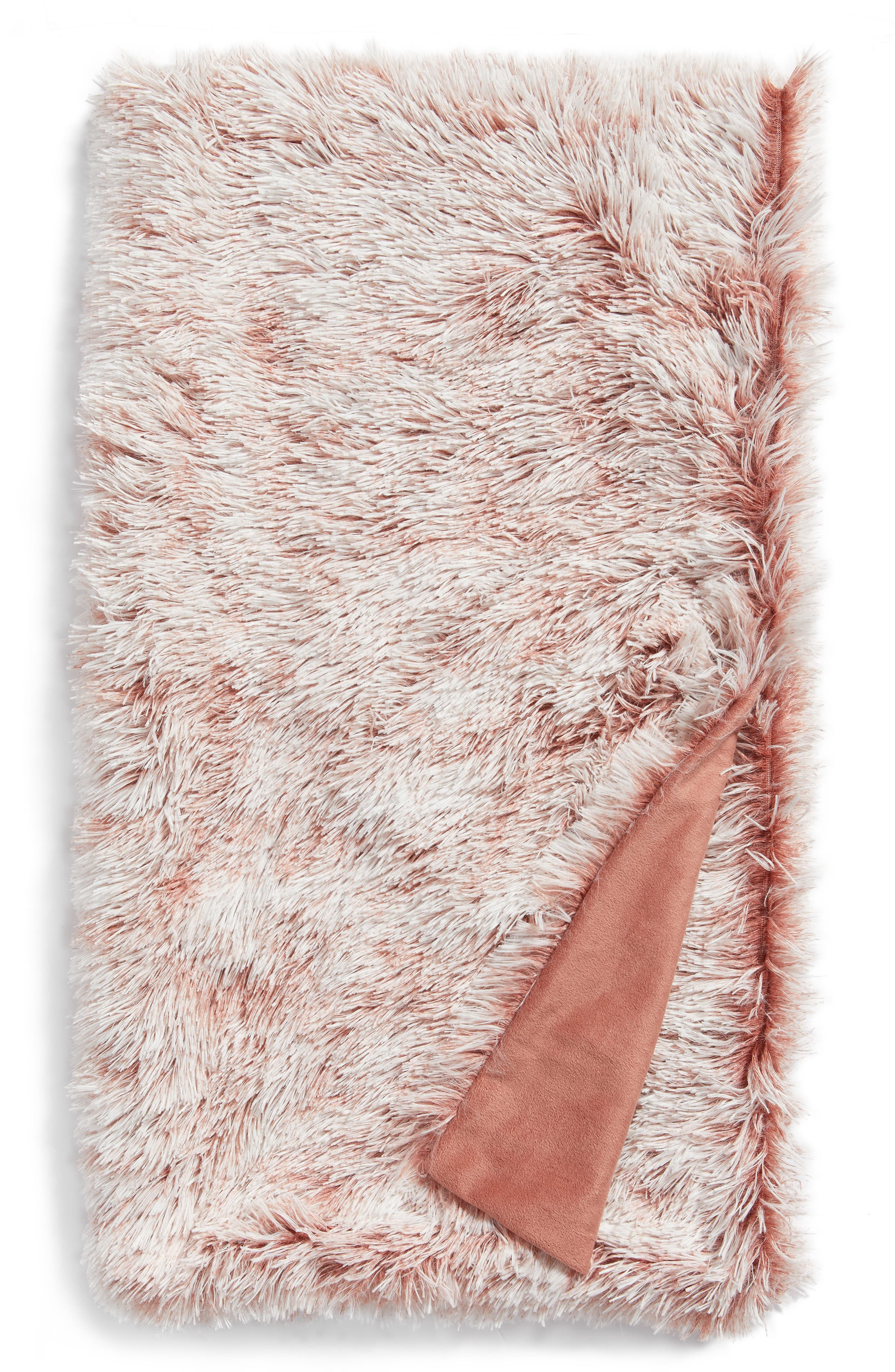 Nordstrom at Home Feather Faux Fur Throw