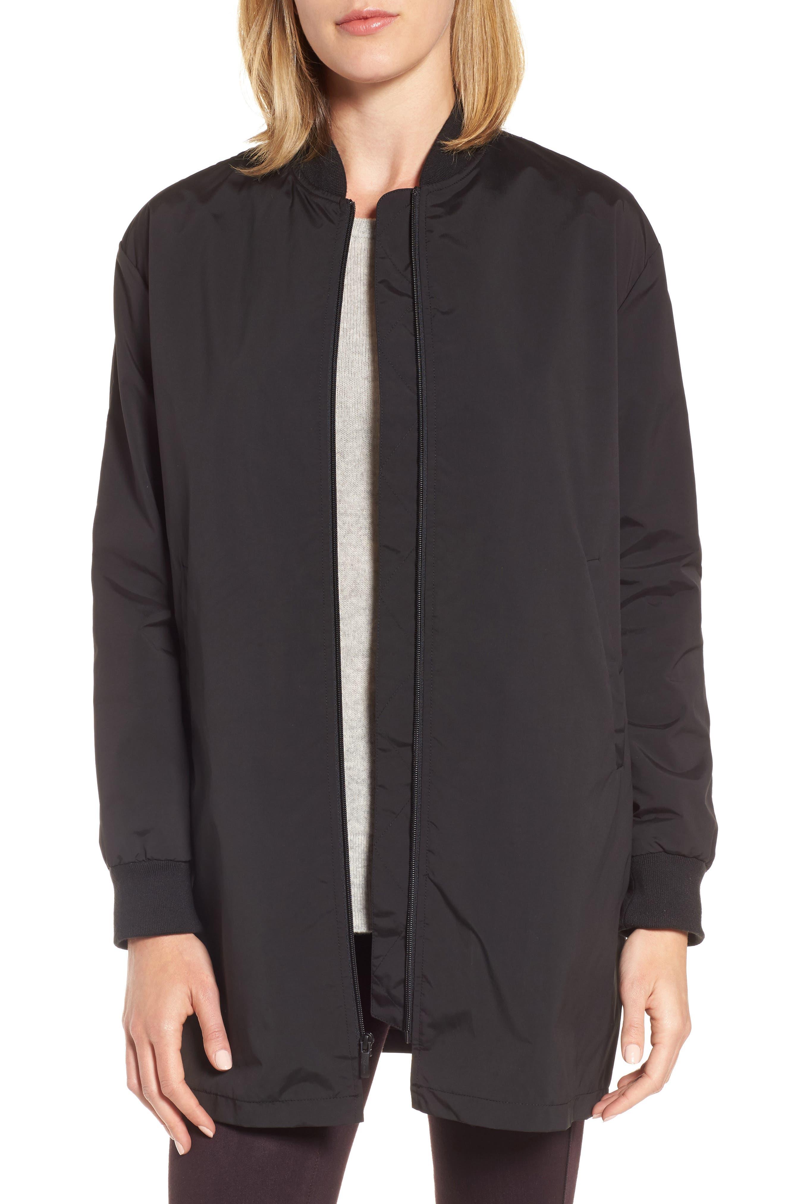 Long Bomber Jacket,                         Main,                         color, Black