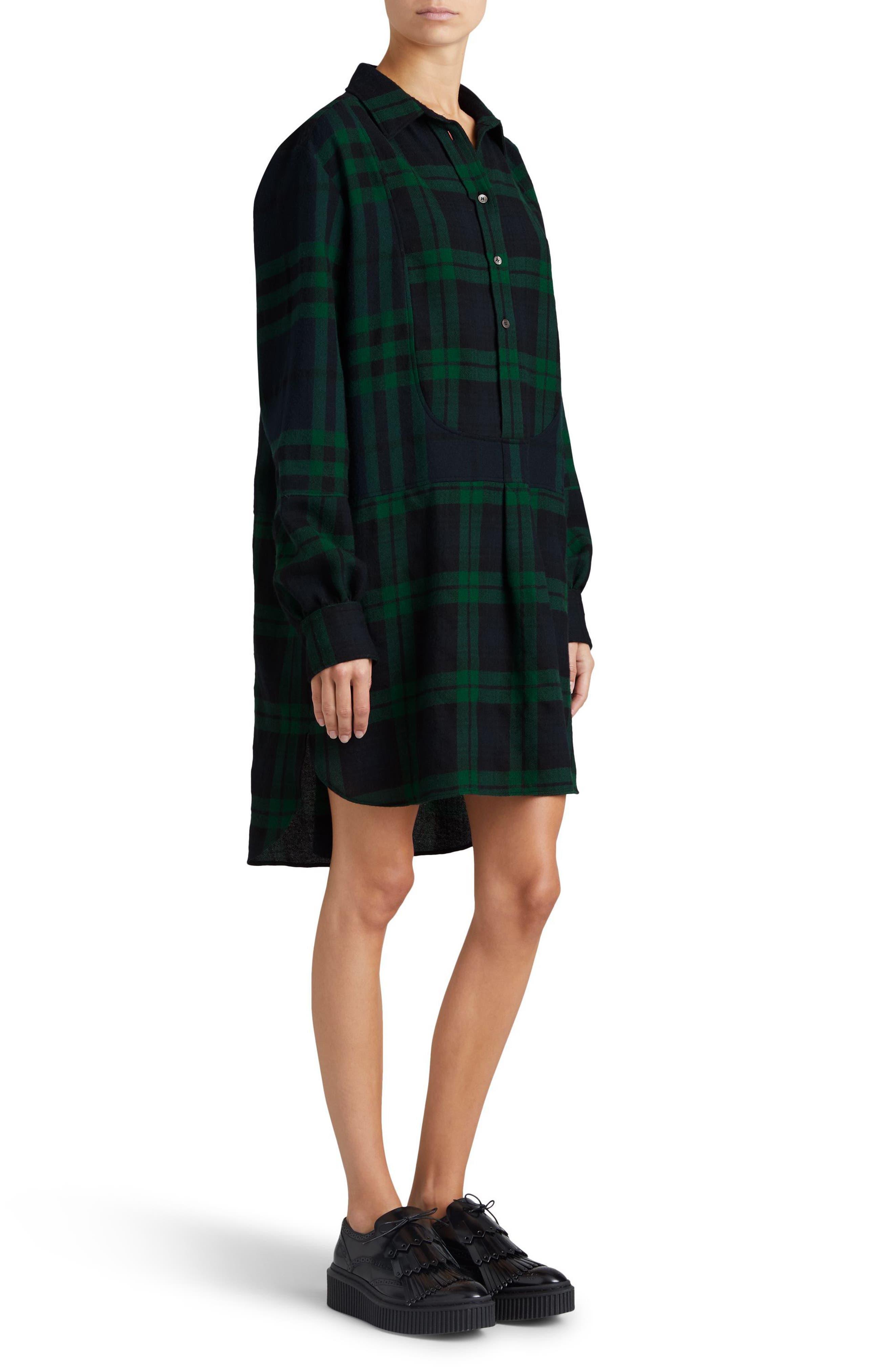 Kylie Check Wool Shirtdress,                             Alternate thumbnail 5, color,                             Navy
