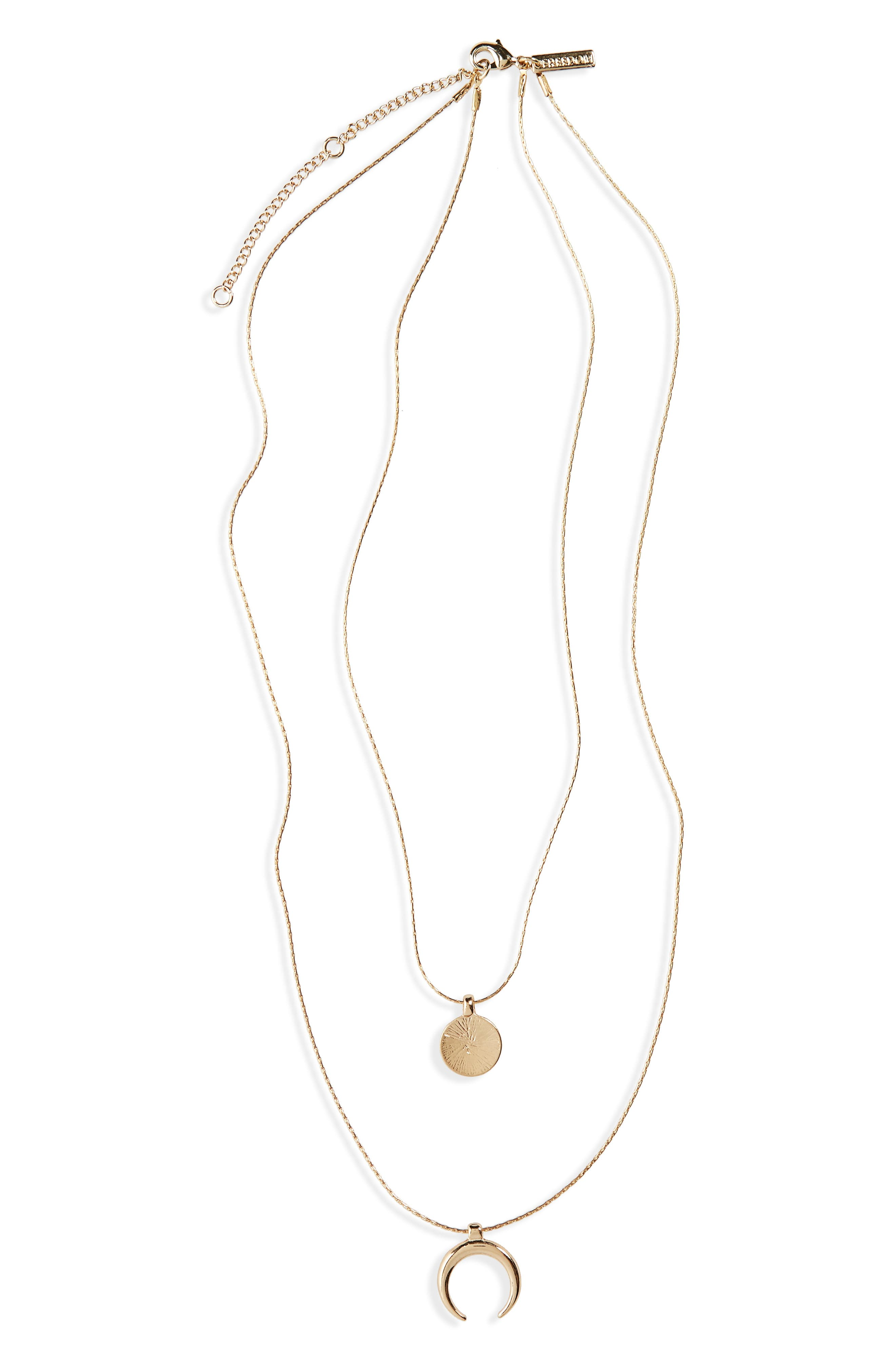 Topshop Disc Curve Layered Pendant Necklace