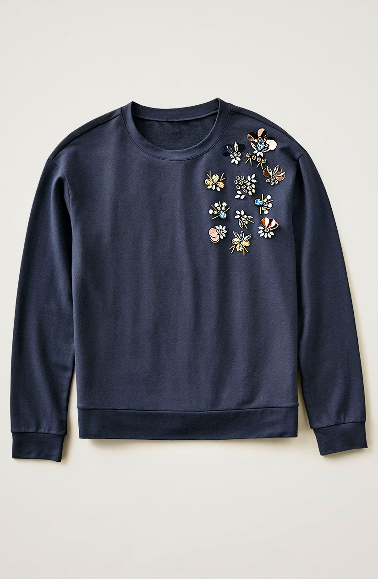Alternate Image 7  - Halogen® Embellished Sweatshirt (Regular & Petite)