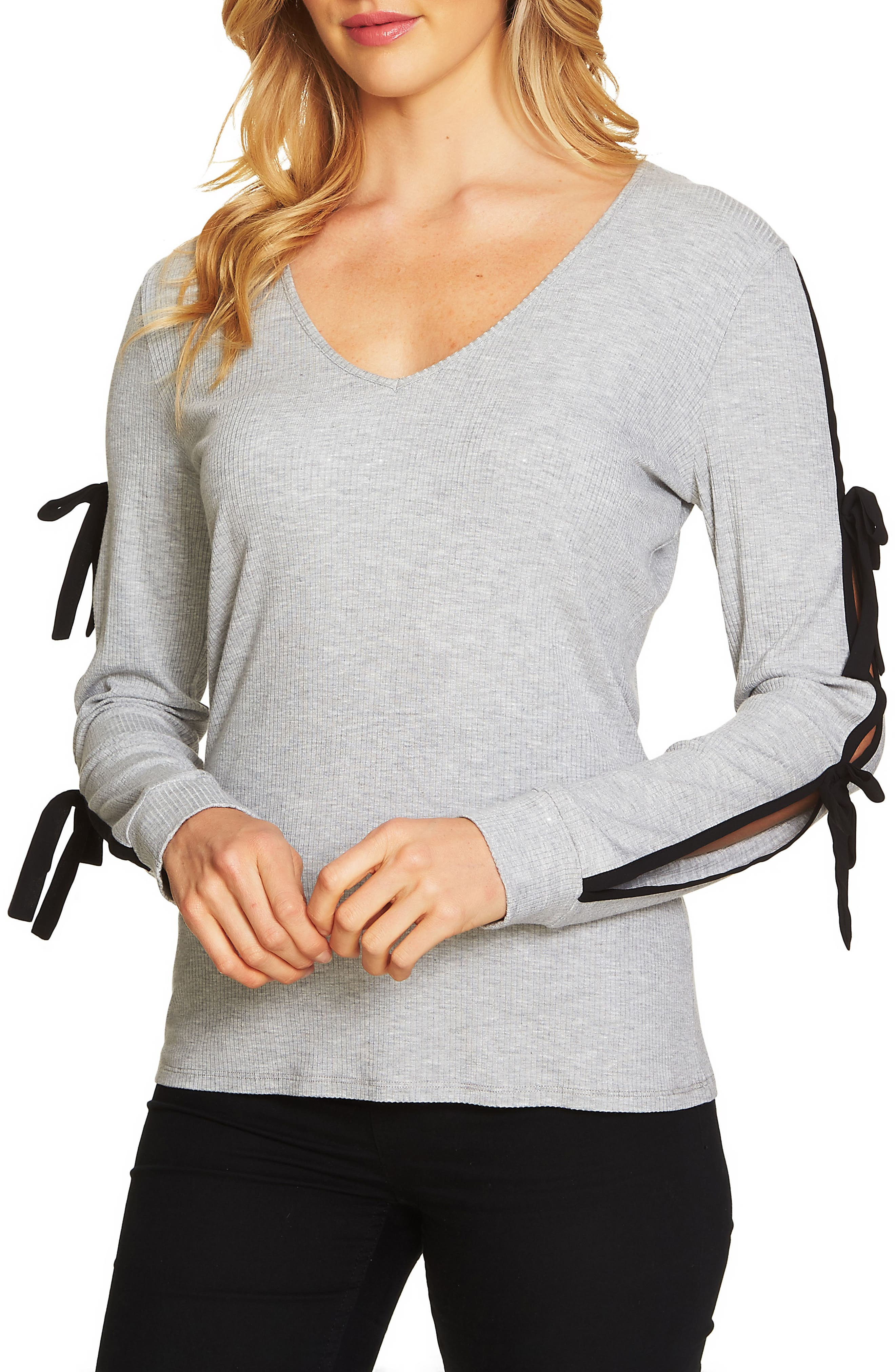 V-Neck Ribbed Knit Top,                             Main thumbnail 1, color,                             Light Heather Grey