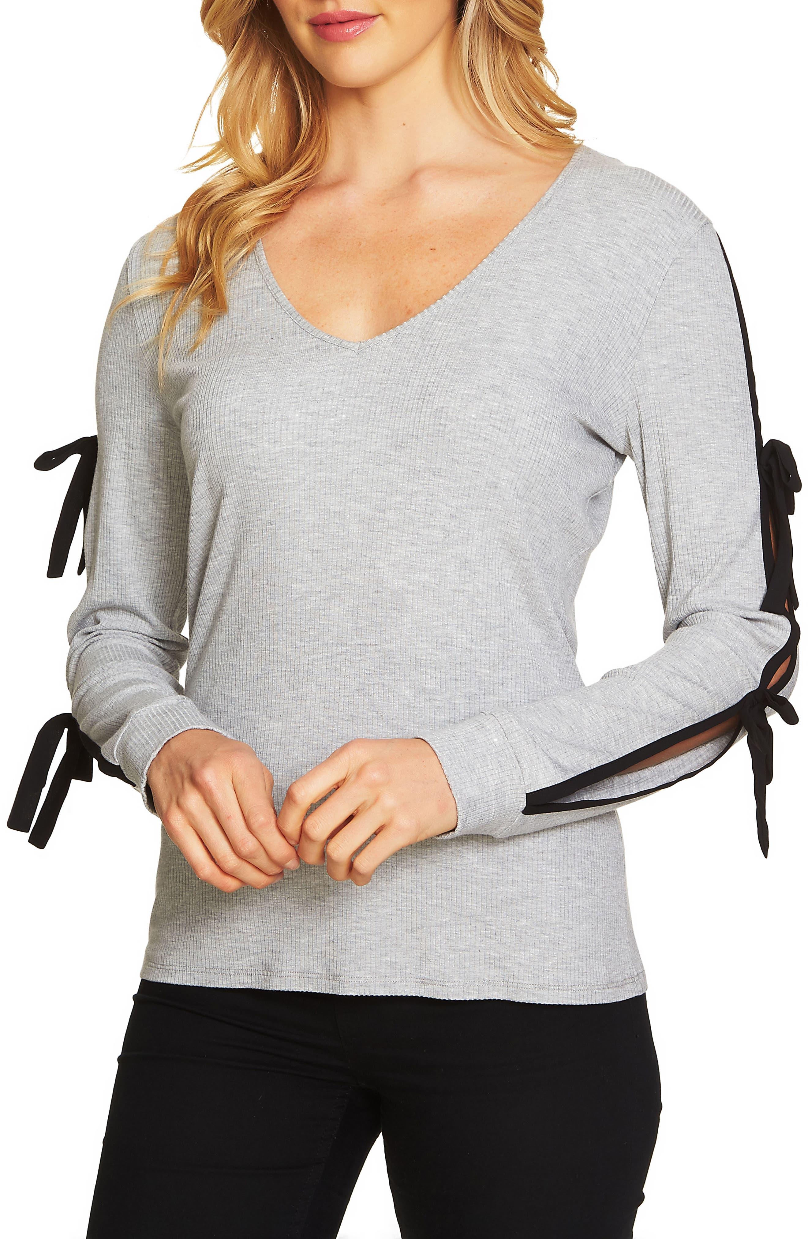 Main Image - Cece V-Neck Ribbed Knit Top