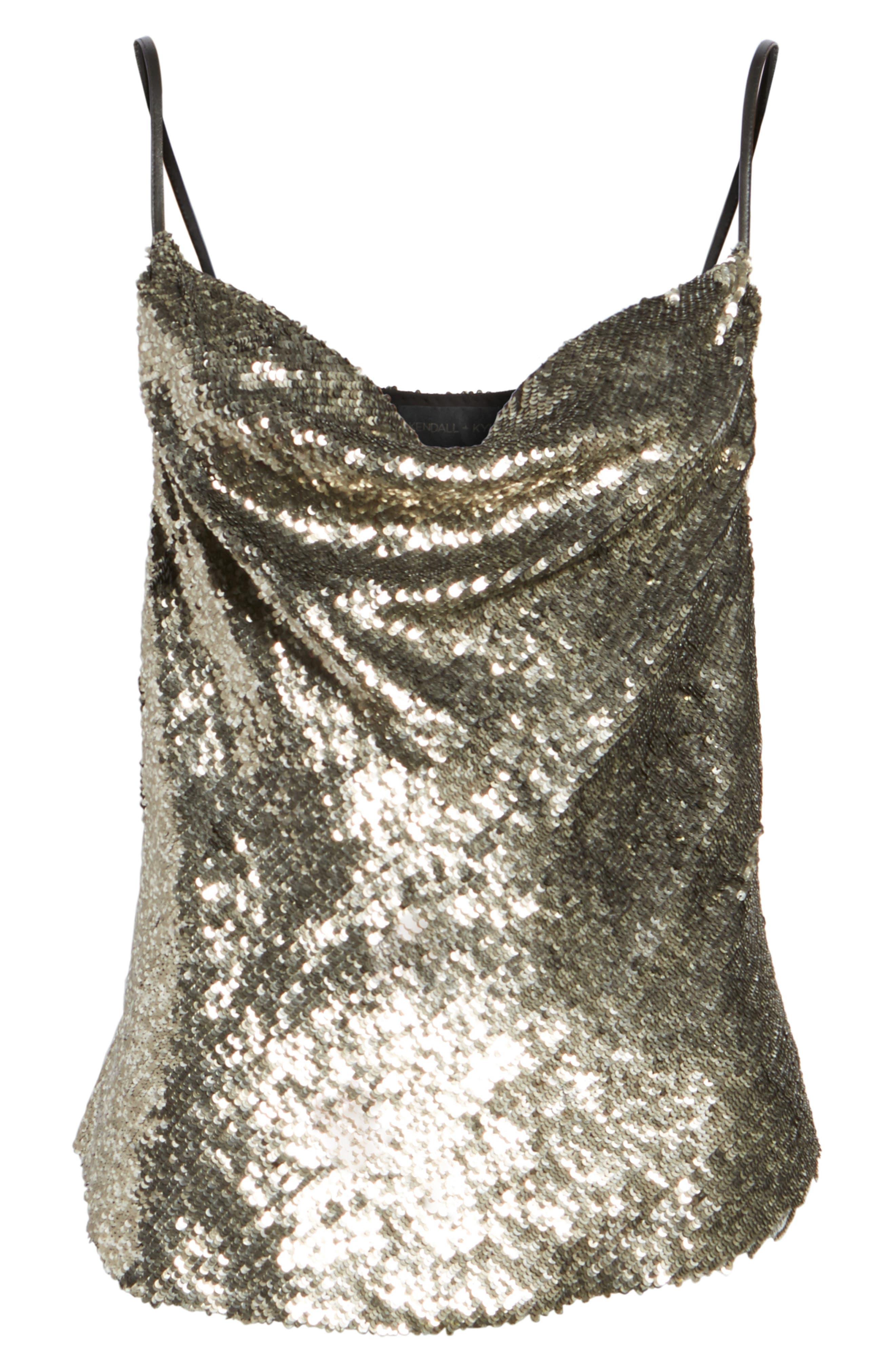 Sequin Camisole,                             Alternate thumbnail 6, color,                             Silver Multi