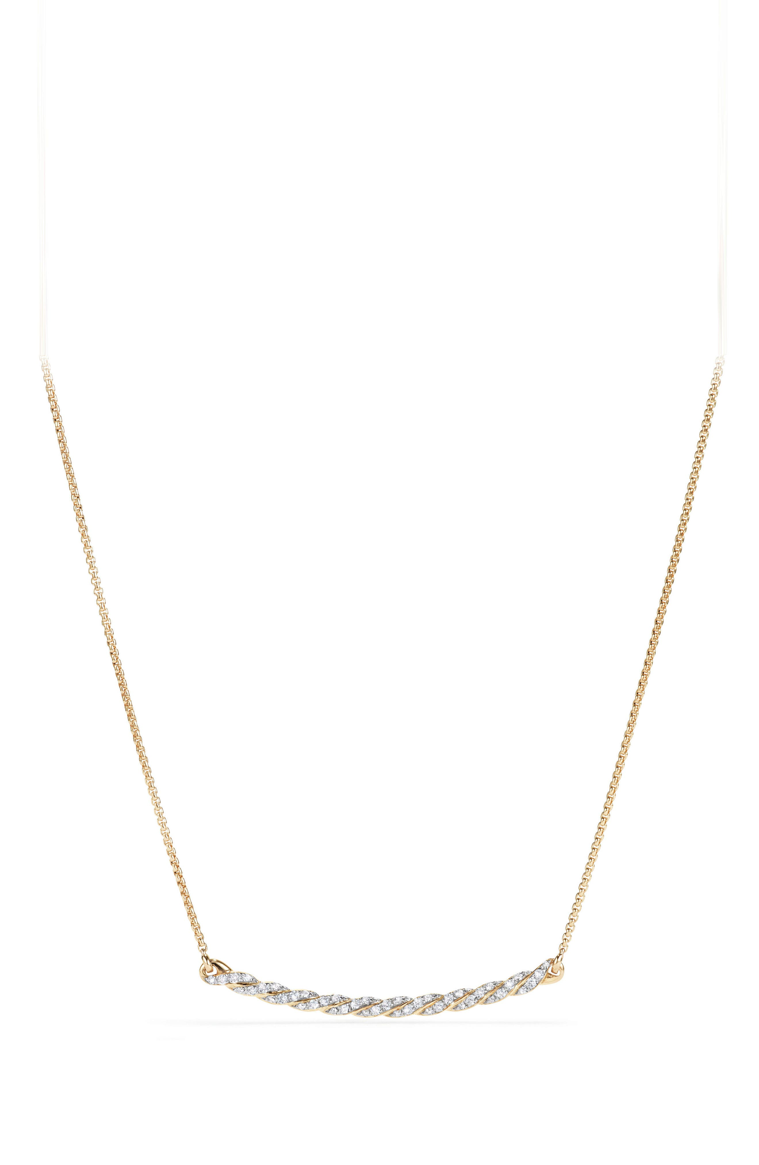 Paveflex Station Necklace with Diamonds in 18K Gold,                             Main thumbnail 1, color,                             Yellow Gold/ Diamond