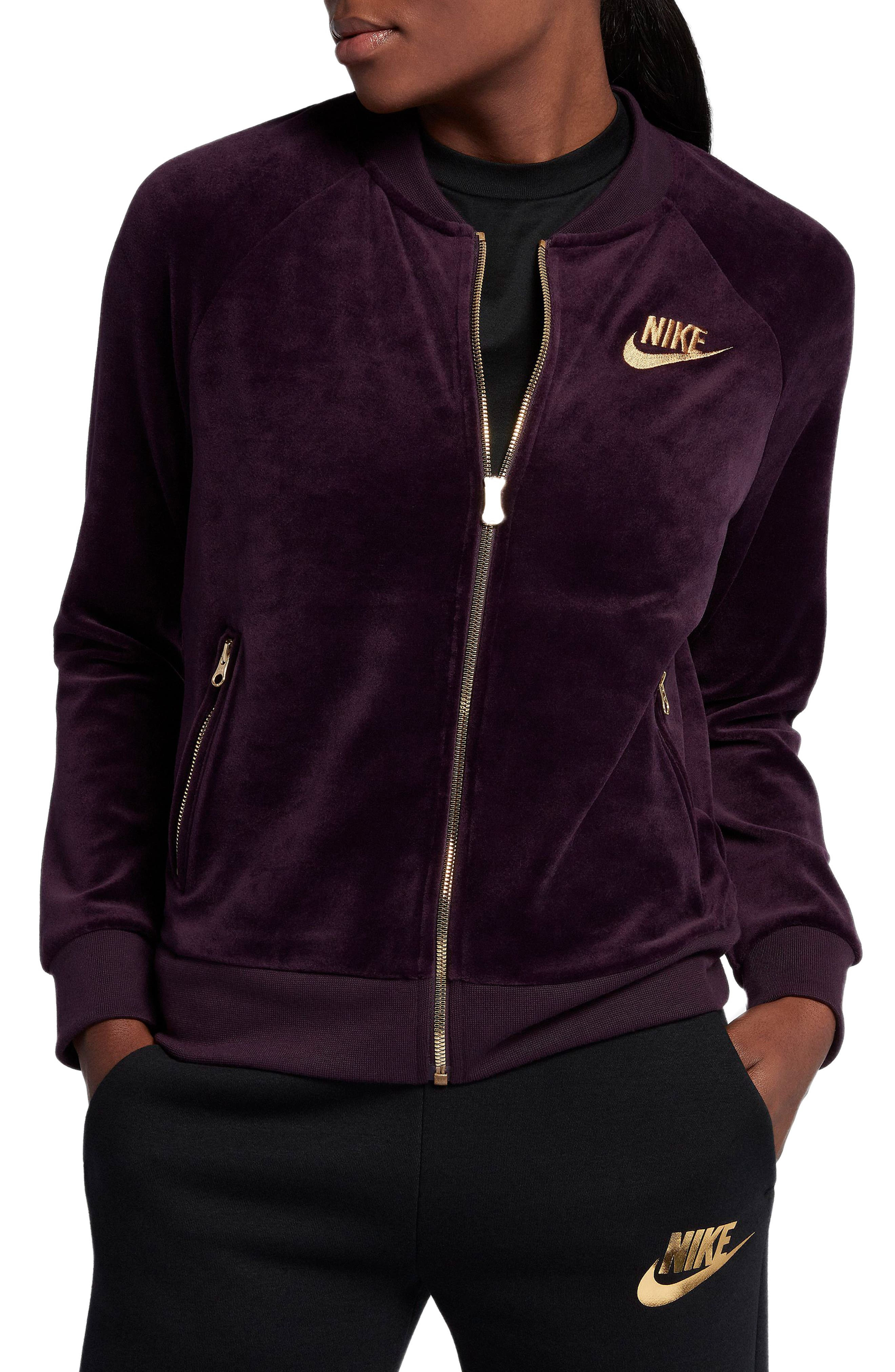 Velour Jacket,                         Main,                         color, Port Wine/ Metallic Gold