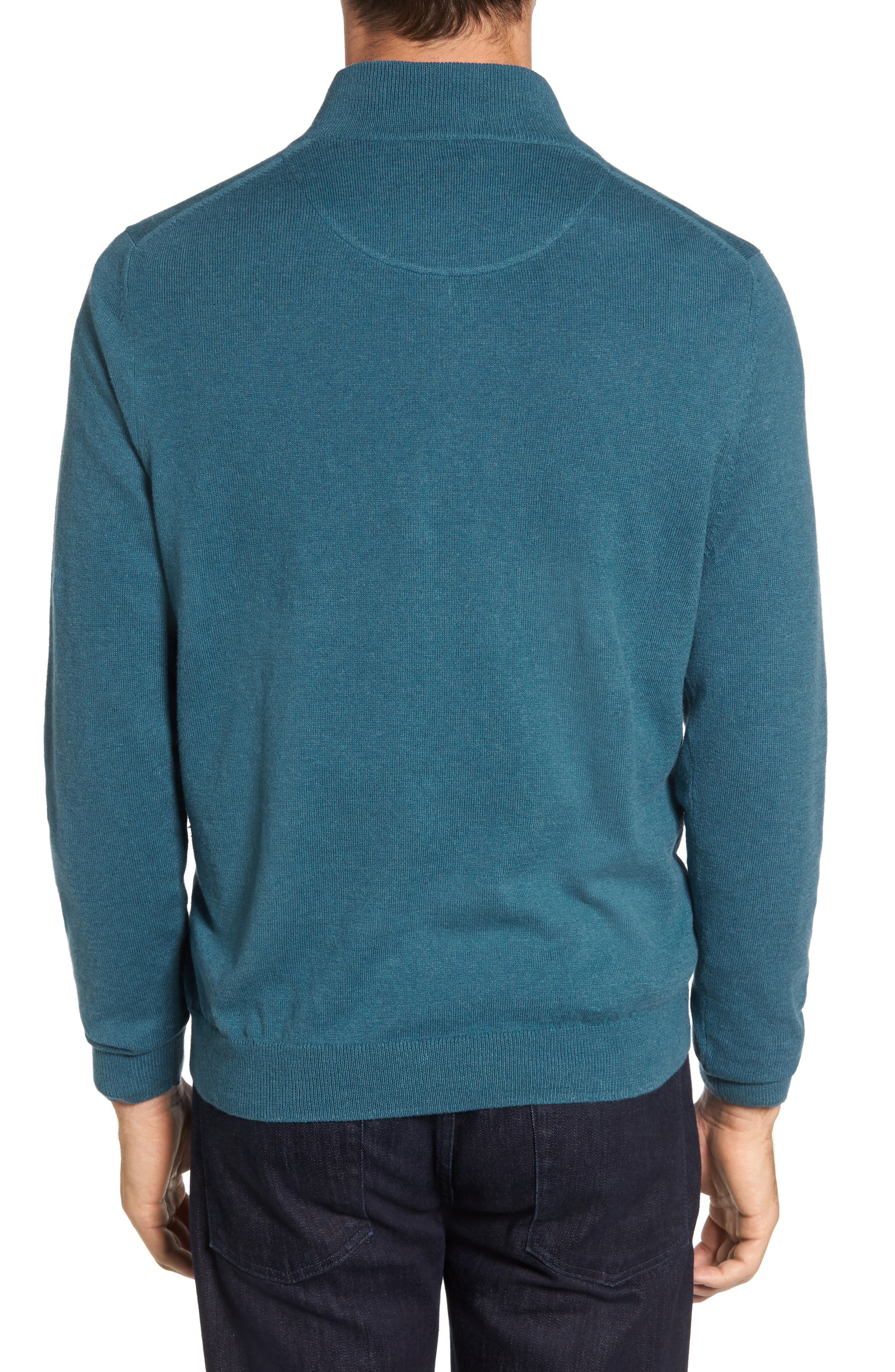 Half Zip Cotton & Cashmere Pullover,                             Alternate thumbnail 2, color,                             Teal Moroccan