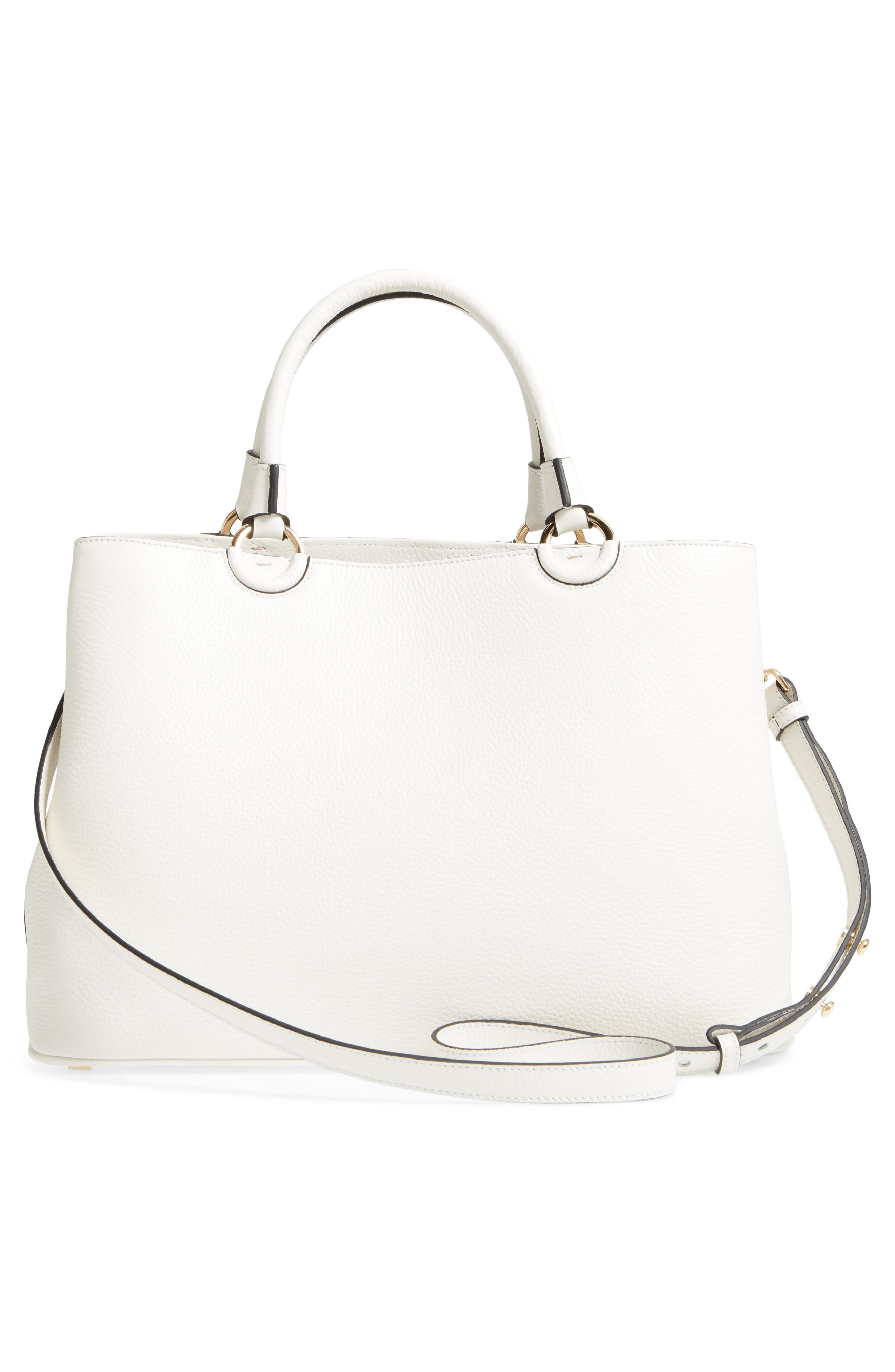 Veronica Cachemire Leather Tote,                             Alternate thumbnail 3, color,                             New Milk