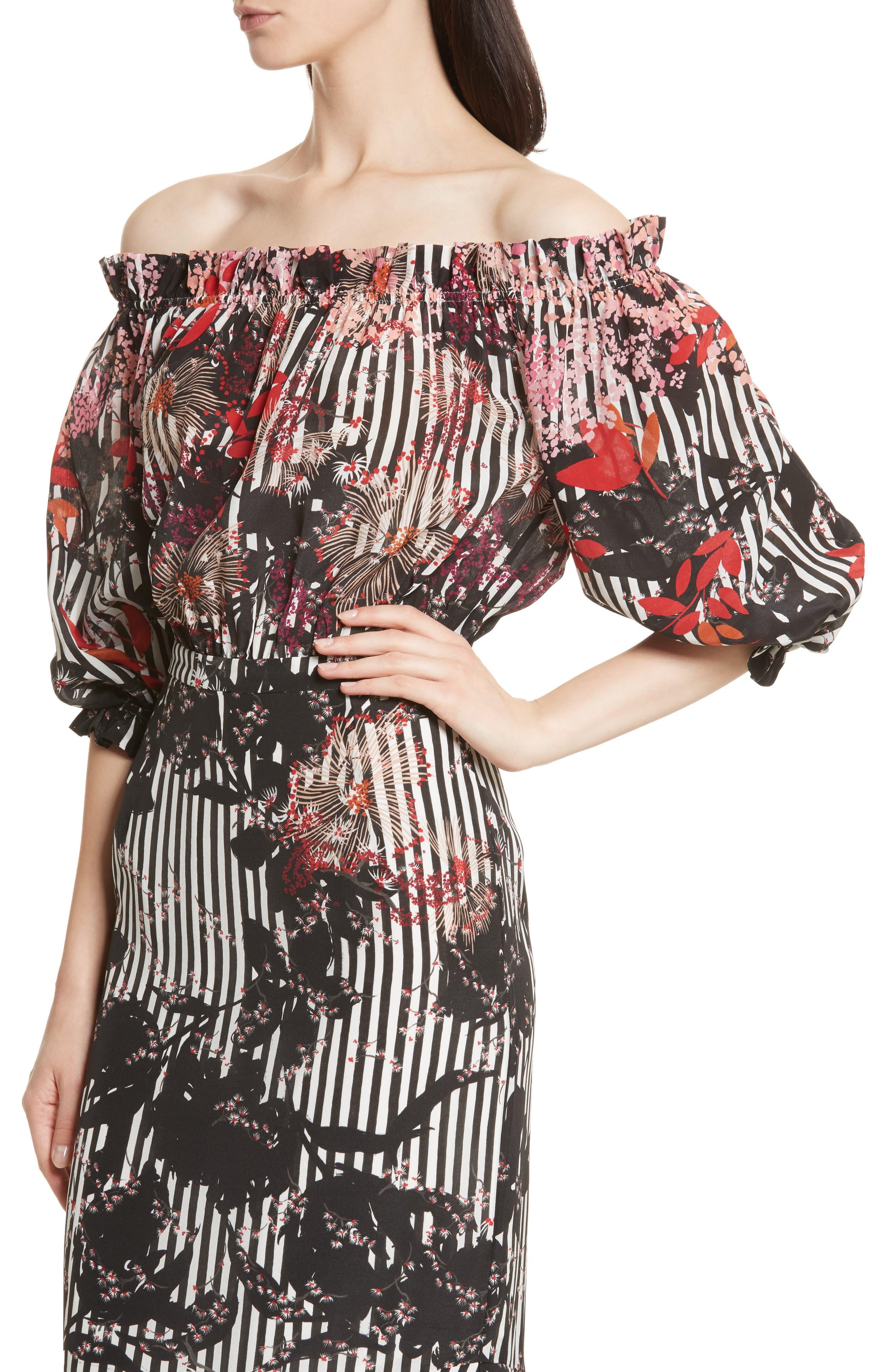 Alternate Image 4  - SALONI Grace Print Silk Off the Shoulder Dress