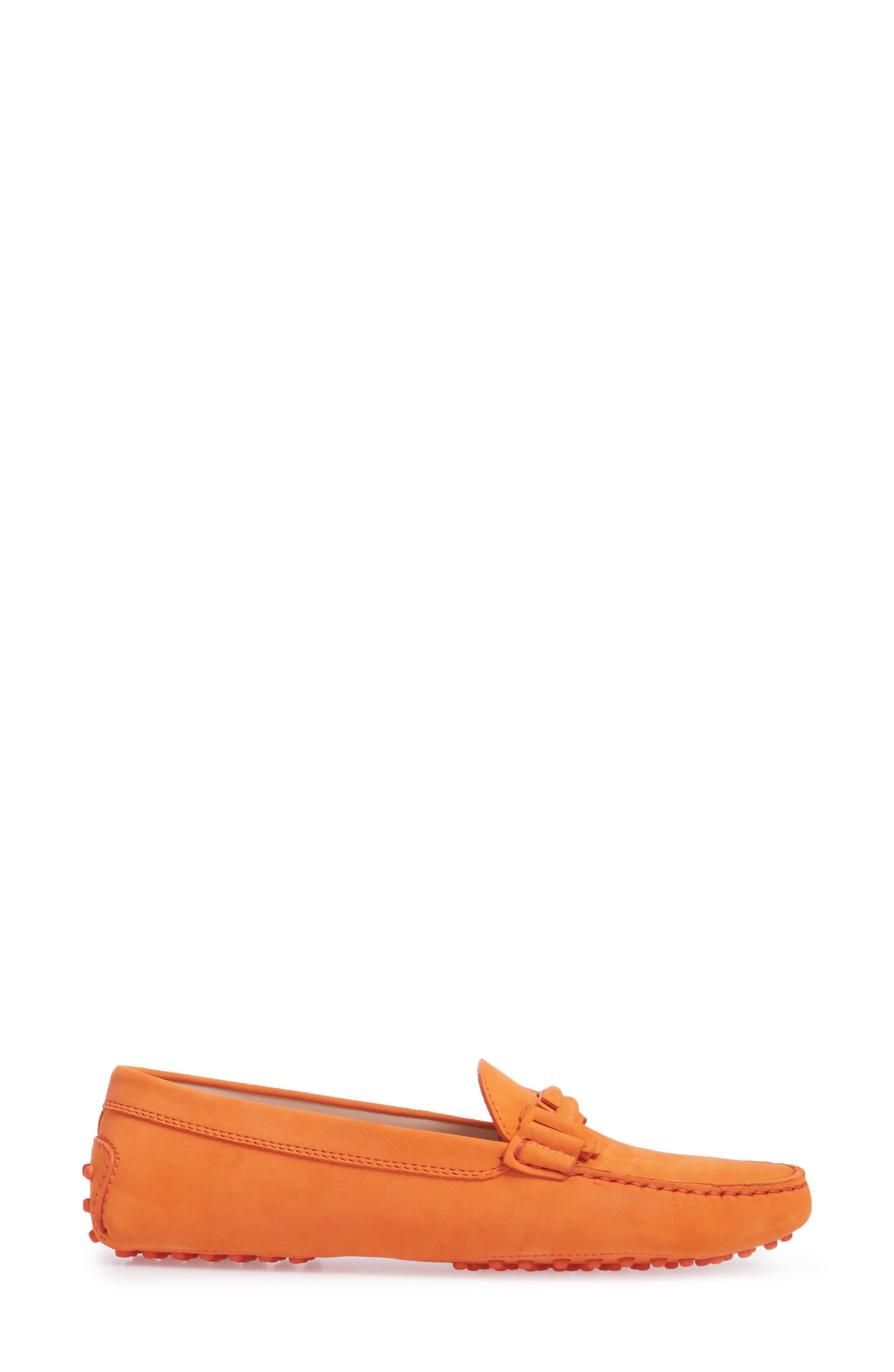 Gommini Covered Double T Loafer,                             Alternate thumbnail 3, color,                             Orange