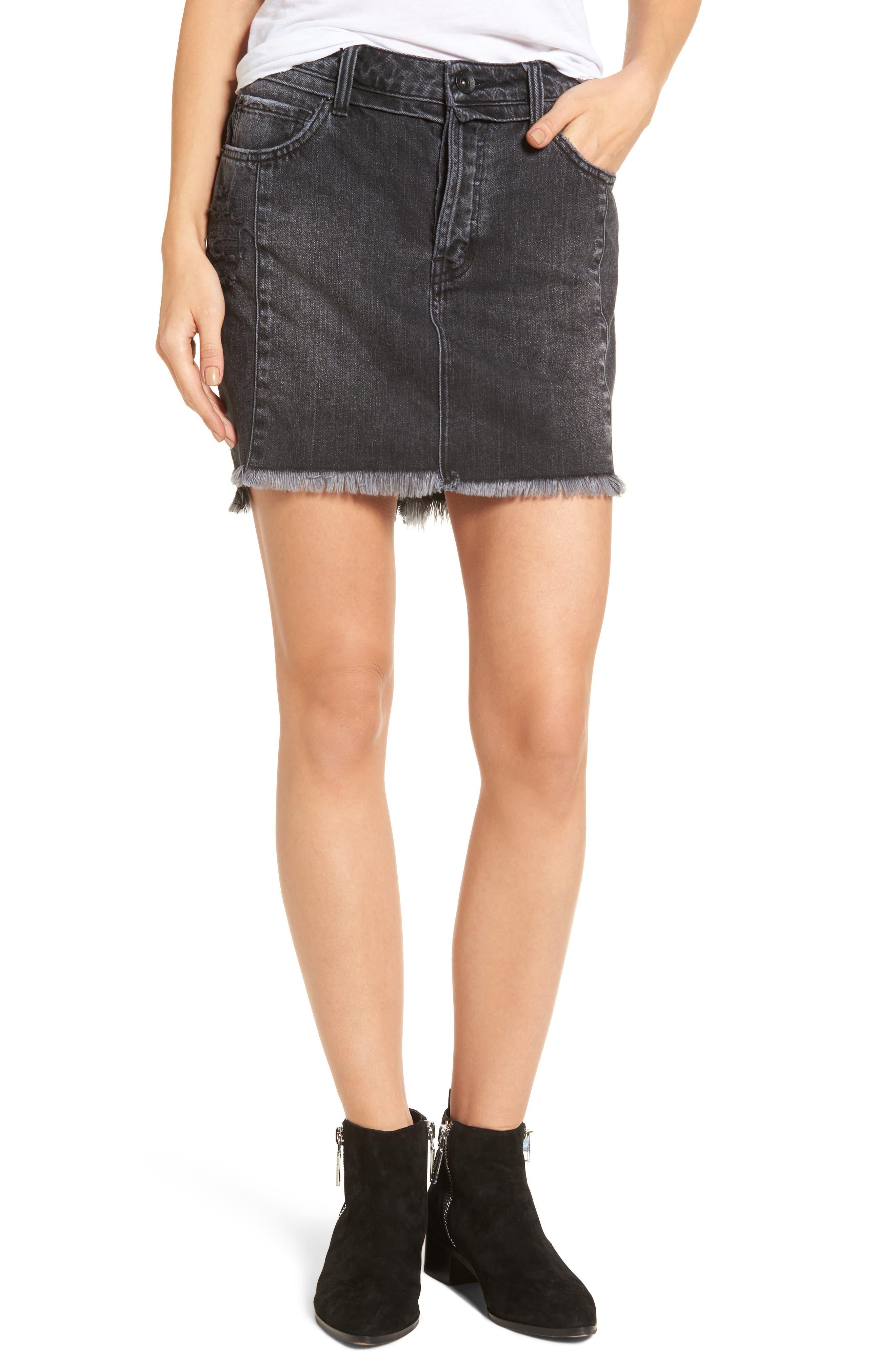 Eve Step Hem Denim Miniskirt,                         Main,                         color, Beat Fest Black