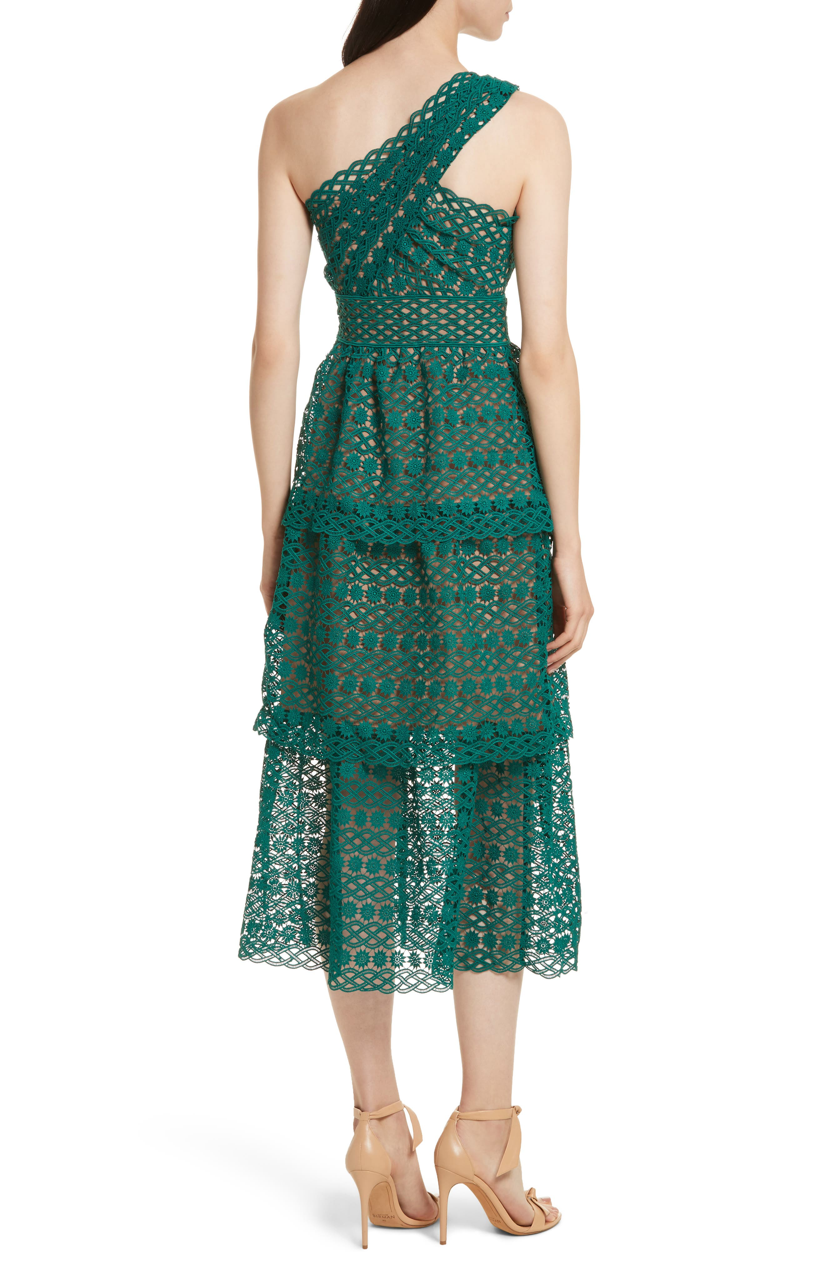 Lace One-Shoulder Midi Dress,                             Alternate thumbnail 2, color,                             Green