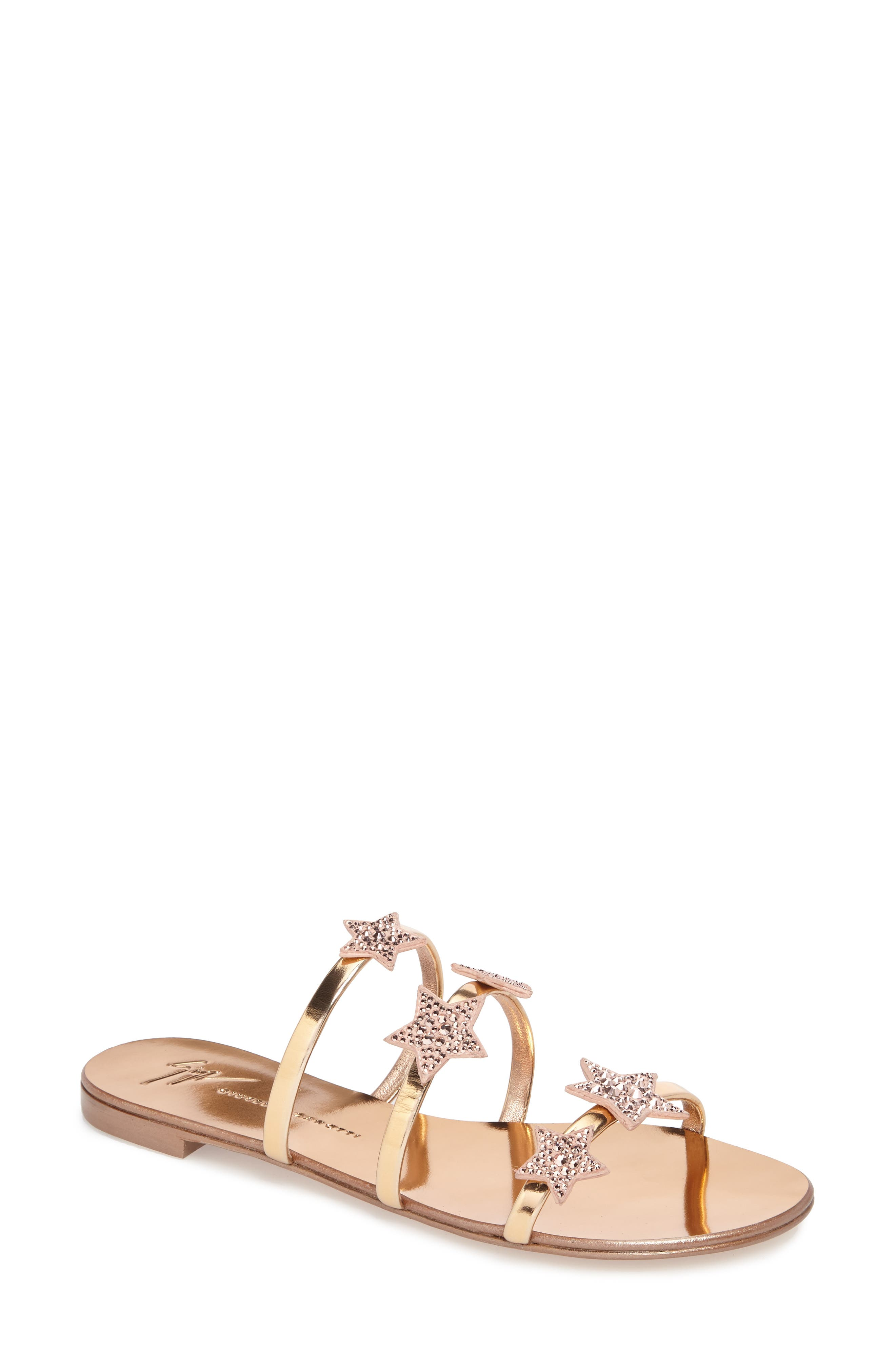 Nuvoroll Star Sandal,                         Main,                         color, Rose Gold