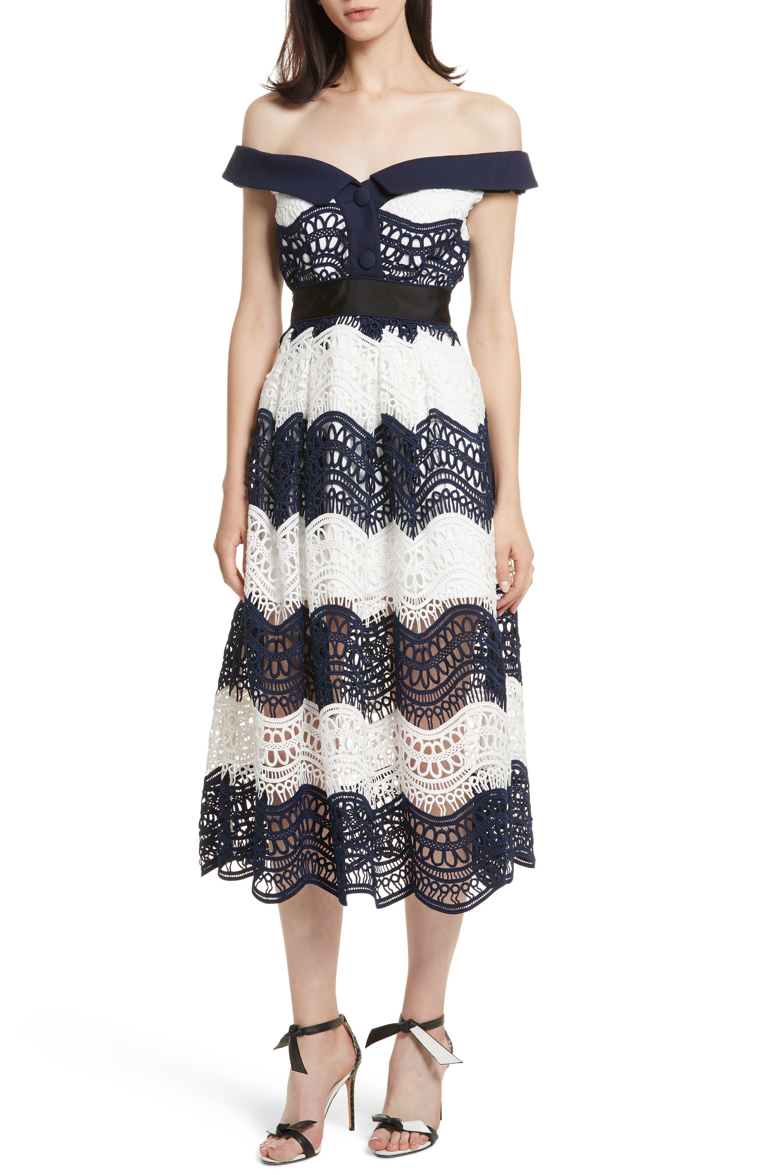 Self-Portrait Wave Lace Off the Shoulder Midi Dress