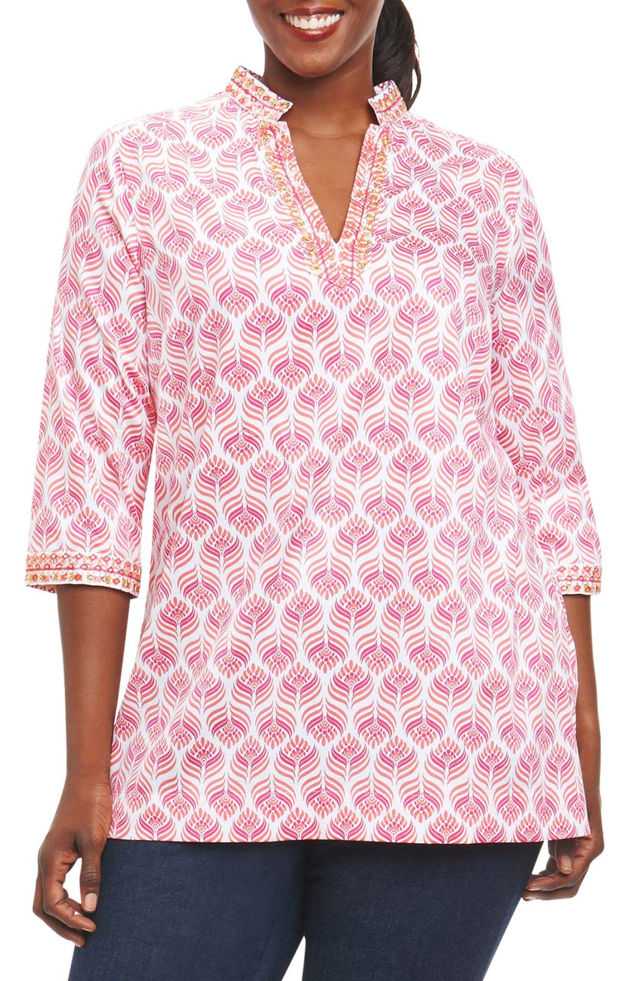 Angelica Embroidered Block Print Tunic,                         Main,                         color, White Multi