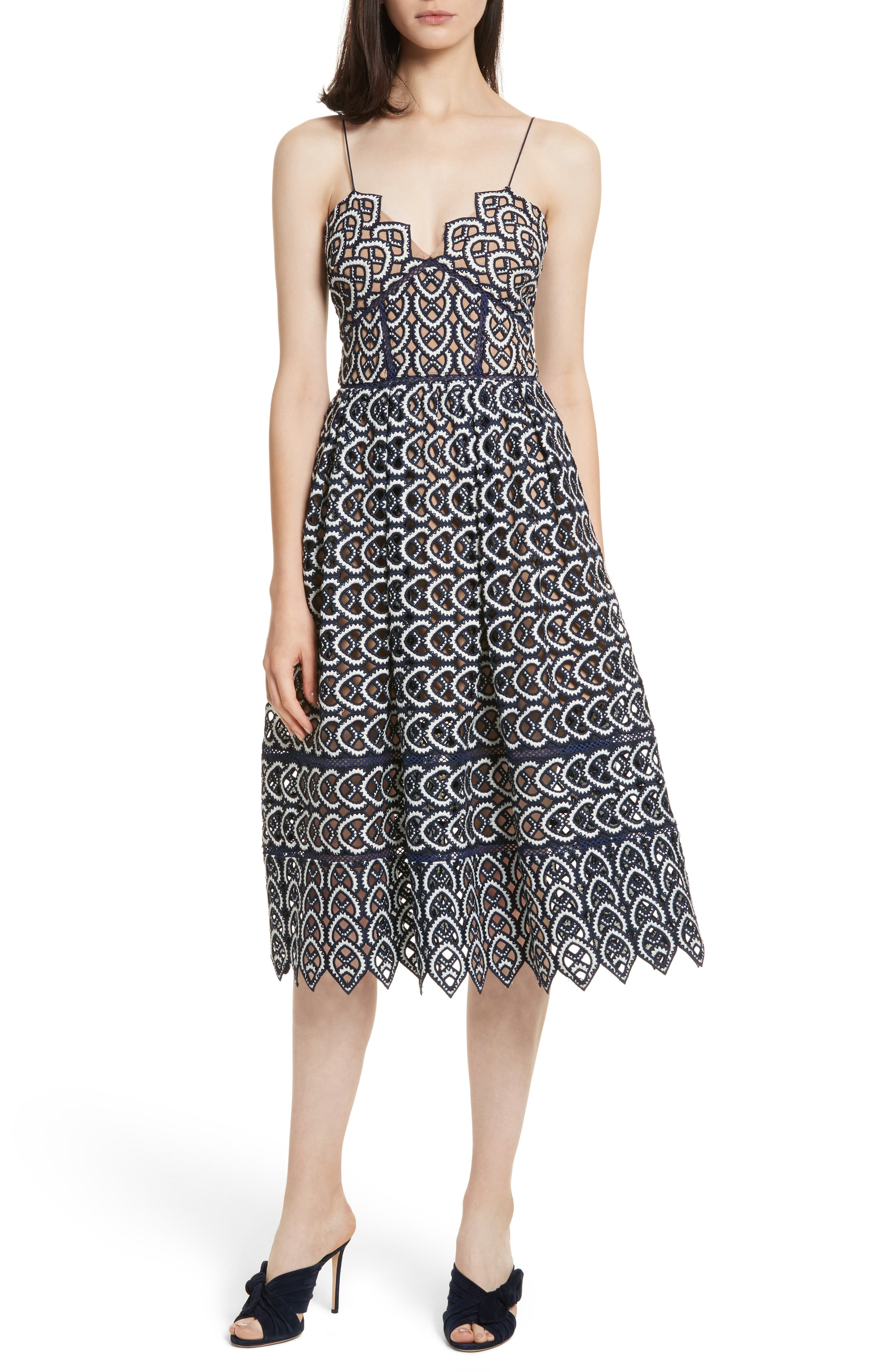 Azaelea Sweetheart Lace Fit & Flare Dress,                         Main,                         color, Navy-White
