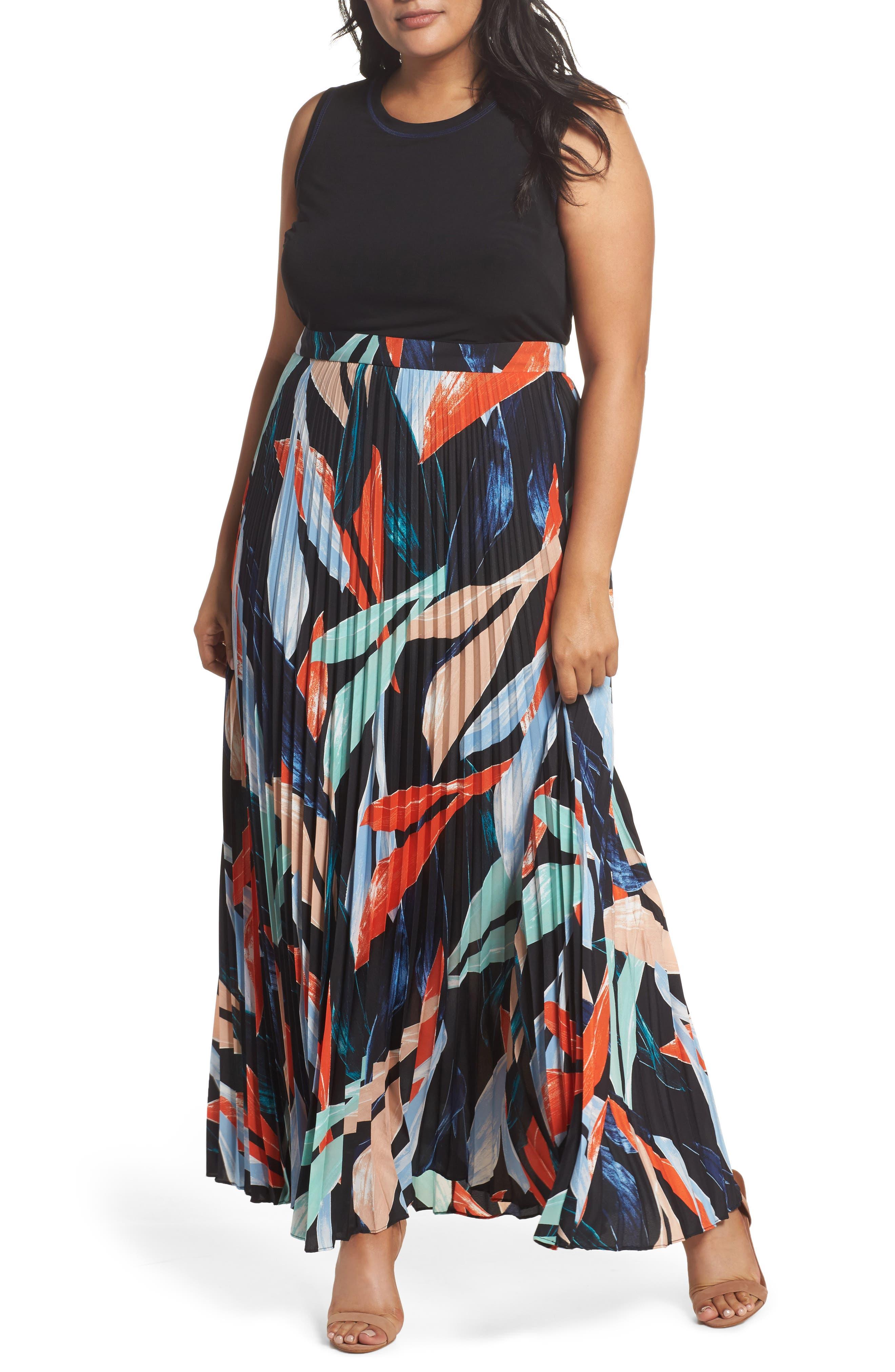 Mock Two-Piece Maxi Dress,                         Main,                         color, Poppy Multi