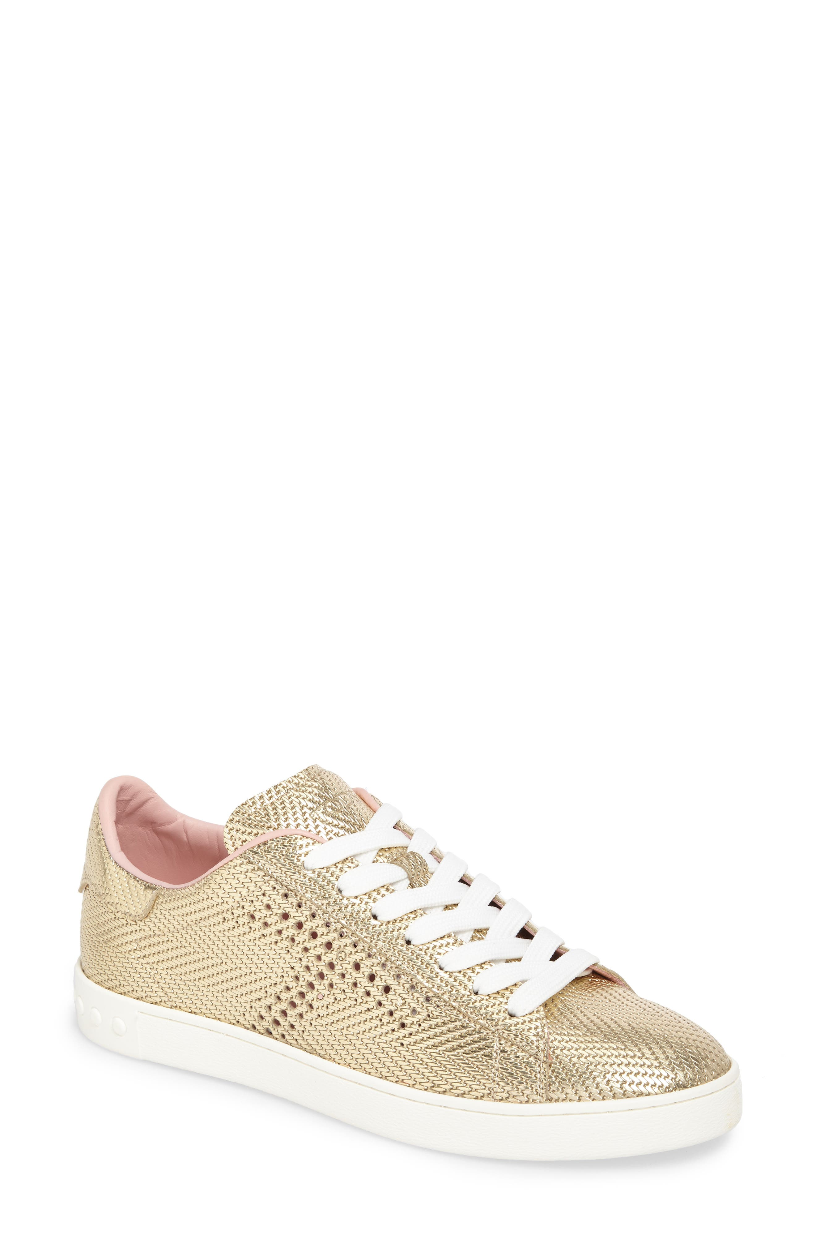 Perforated T Sneaker,                         Main,                         color, Rose Gold