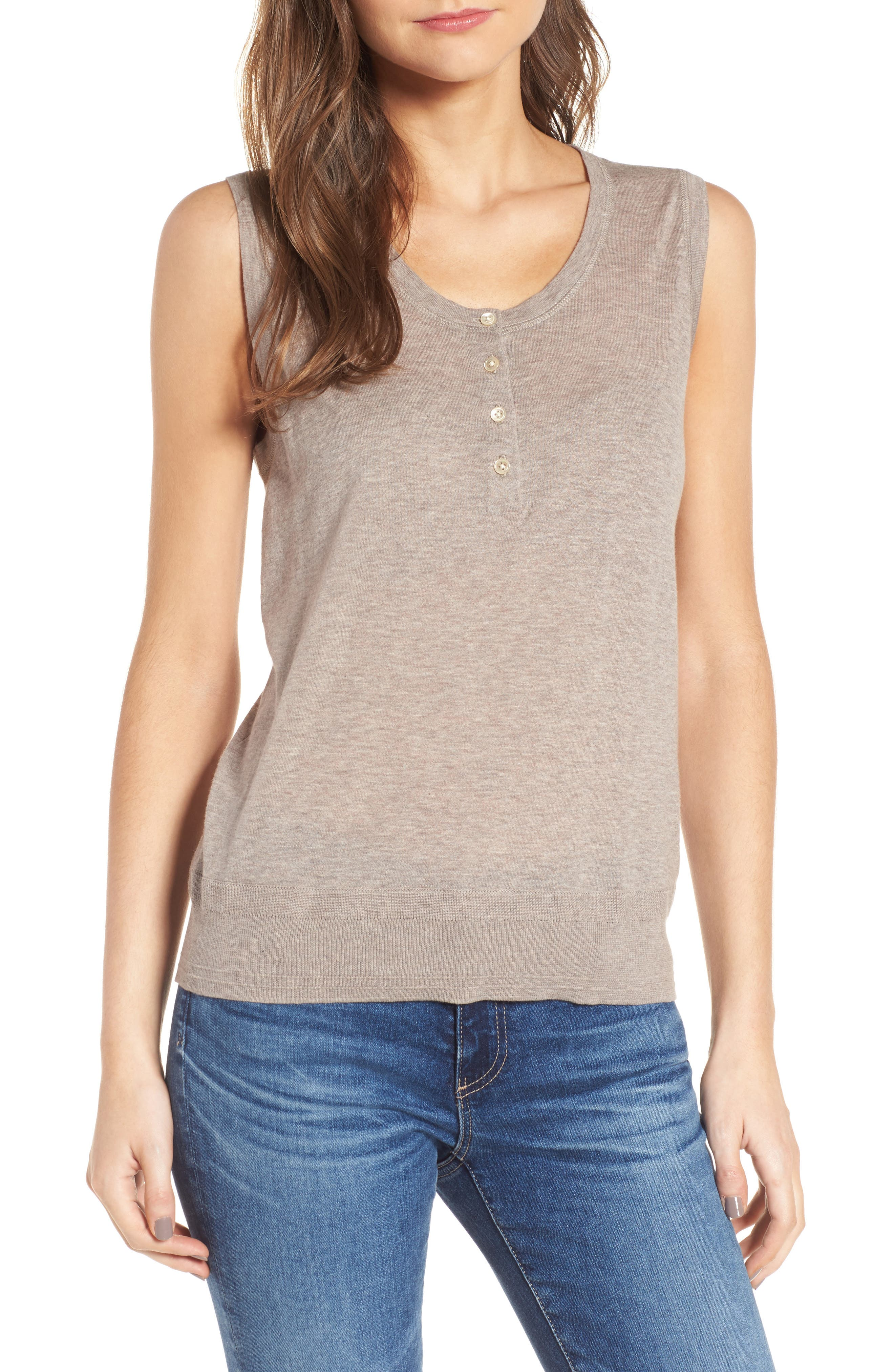 Henley Tank Sweater,                             Main thumbnail 1, color,                             Heather Taupe