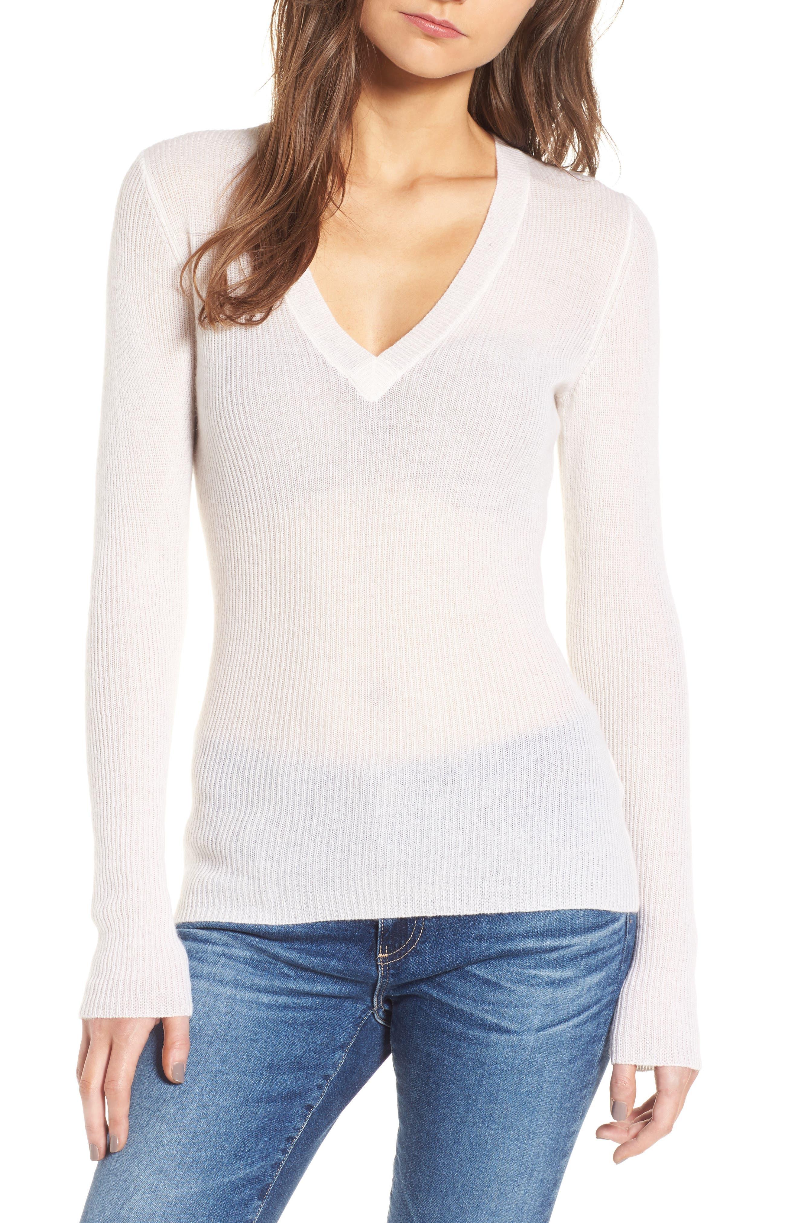 Cashmere V-Neck Sweater,                         Main,                         color, White