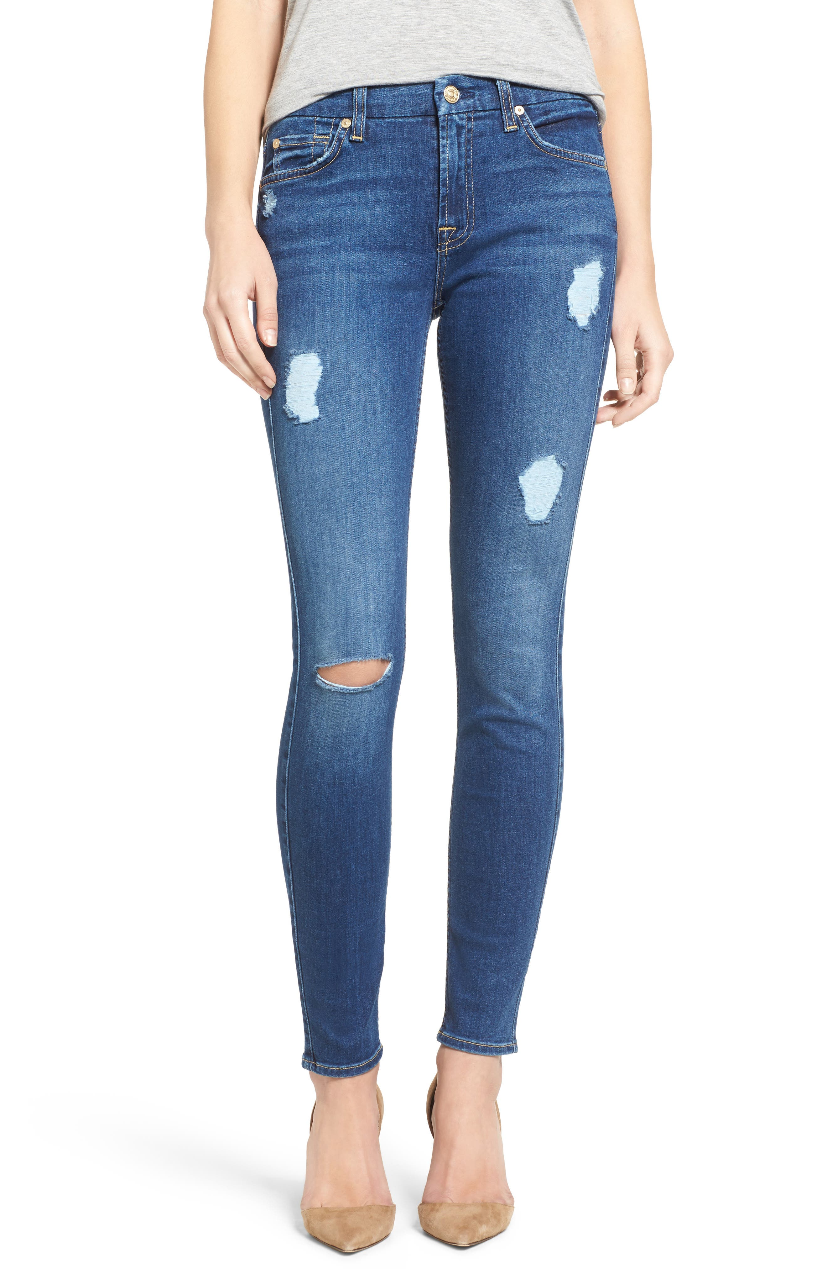 Main Image - 7 For All Mankind® 'b(air) - The Ankle' Skinny Jeans (Duchess 2)