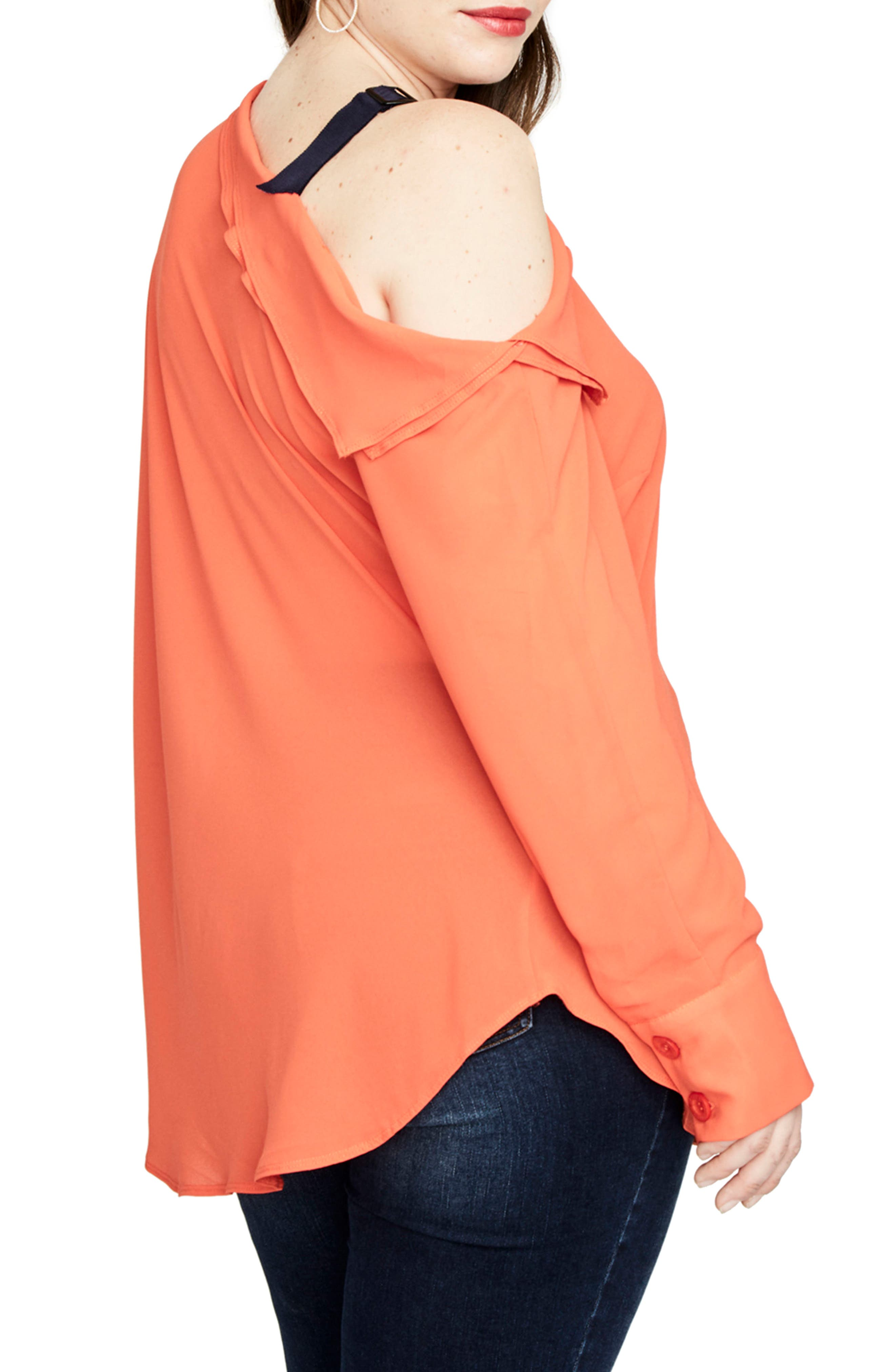One-Shoulder Top,                             Alternate thumbnail 3, color,                             Tangerine