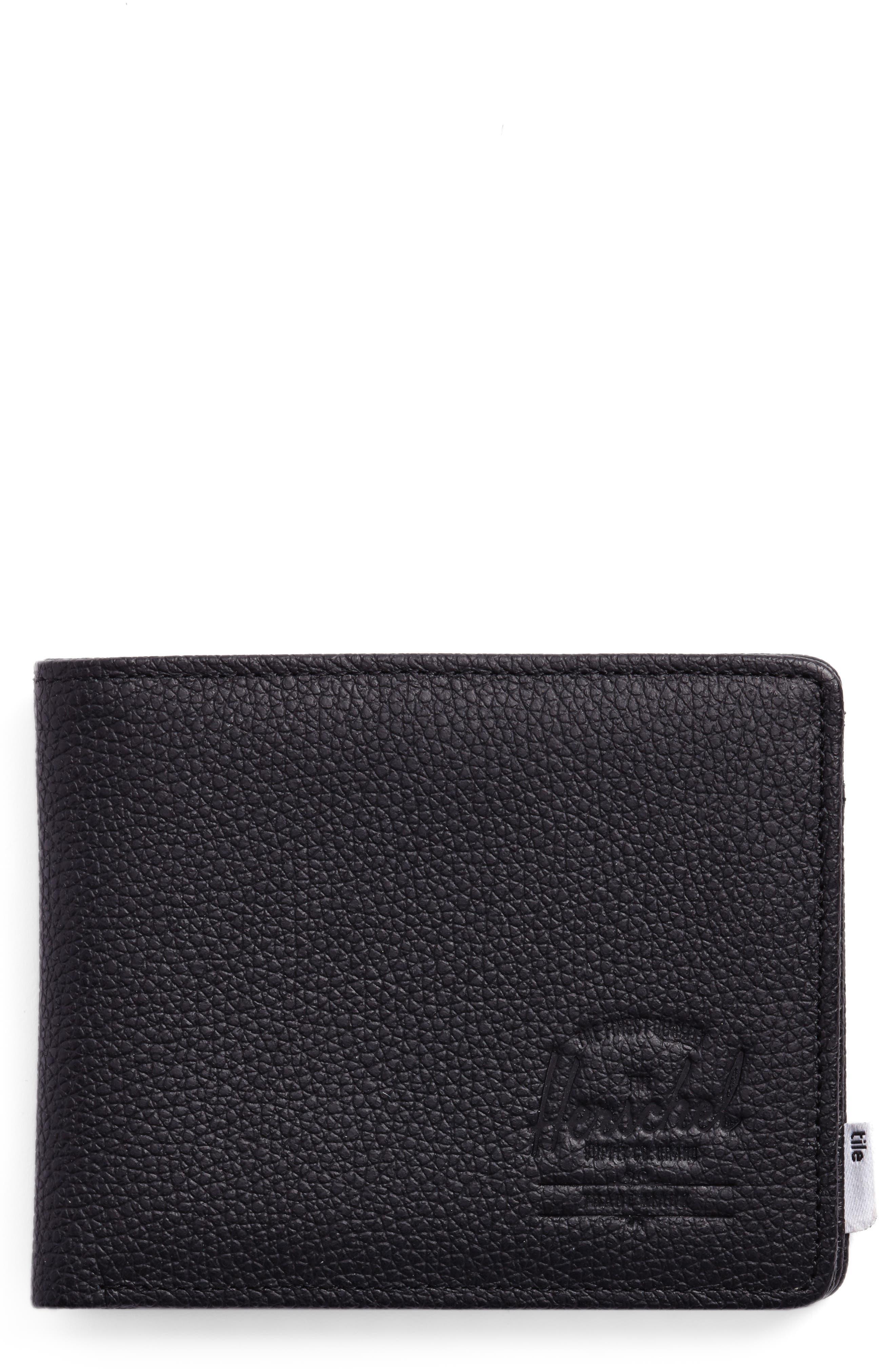 Tile Roy Leather Wallet,                         Main,                         color, Black Pebbled Leather
